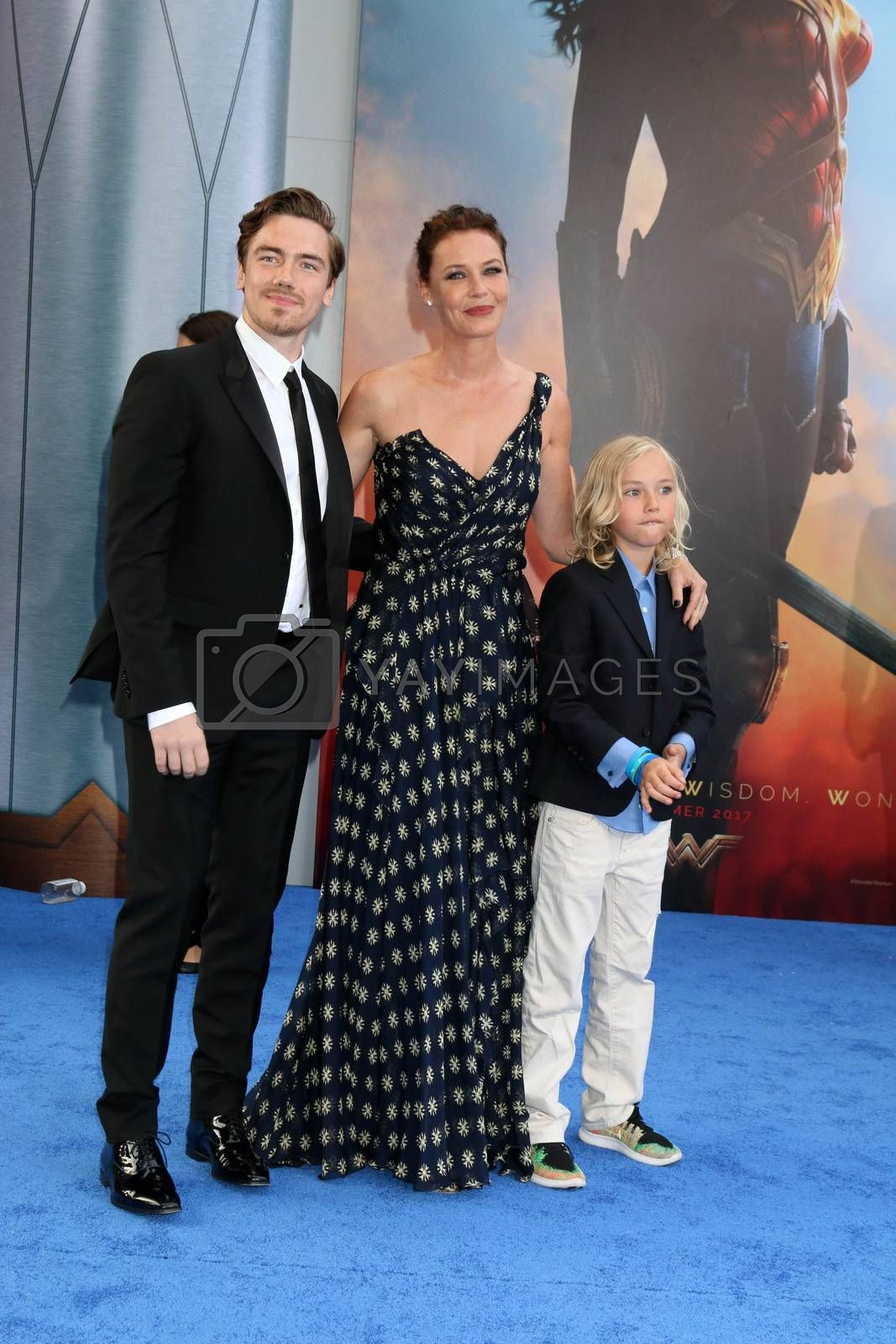 "Sebastian Sartor, Connie Nielsen, Bryce Thadeus Ulrich-Nielsen at the ""Wonder Woman"" Premiere, Pantages, Hollywood, CA 05-25-17"