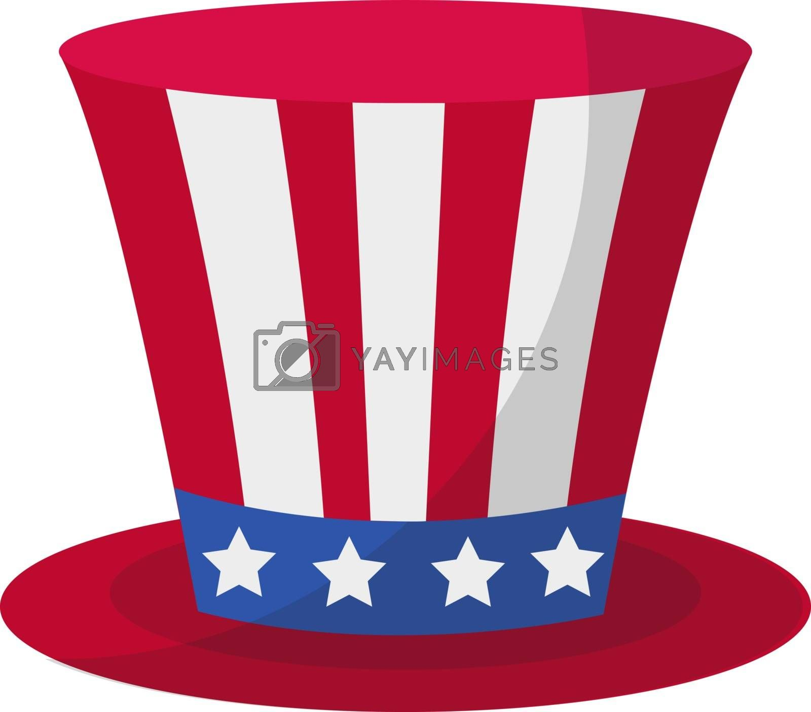 Cylinder hat icon flat style. 4th july concept. Isolated on white background. Vector illustration