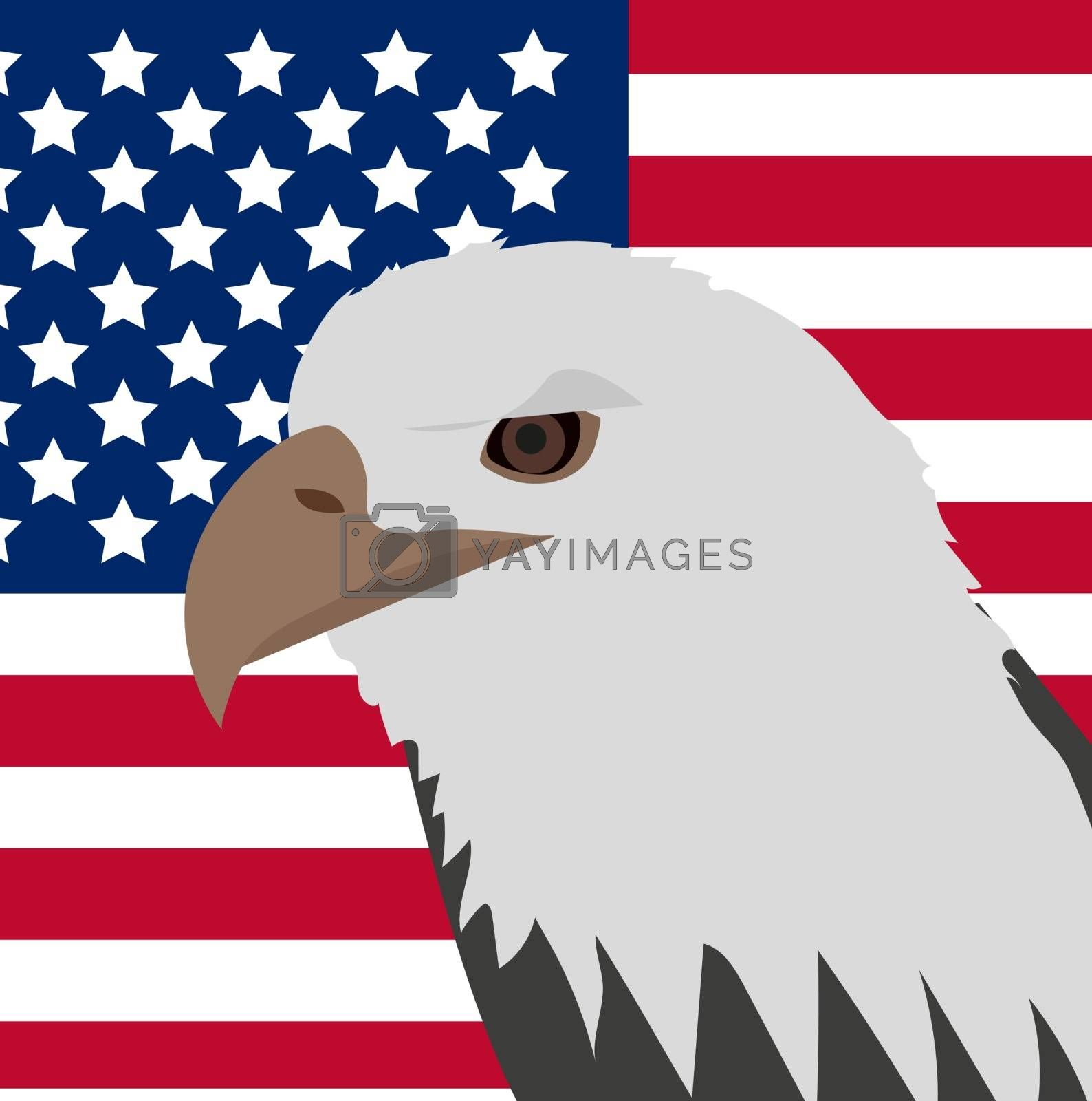 Eagle on the background of the American flag icon, flat style. 4th july concept. Vector illustration