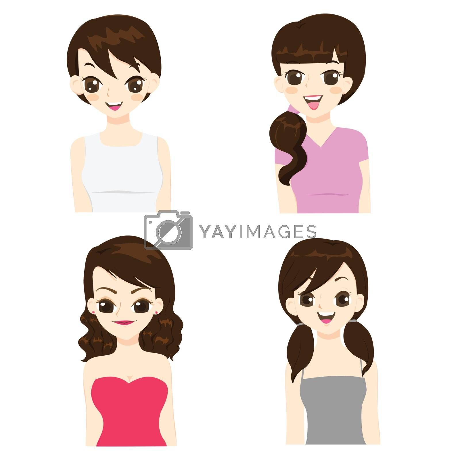 Fashion and hairstyle of asian women vector illustration