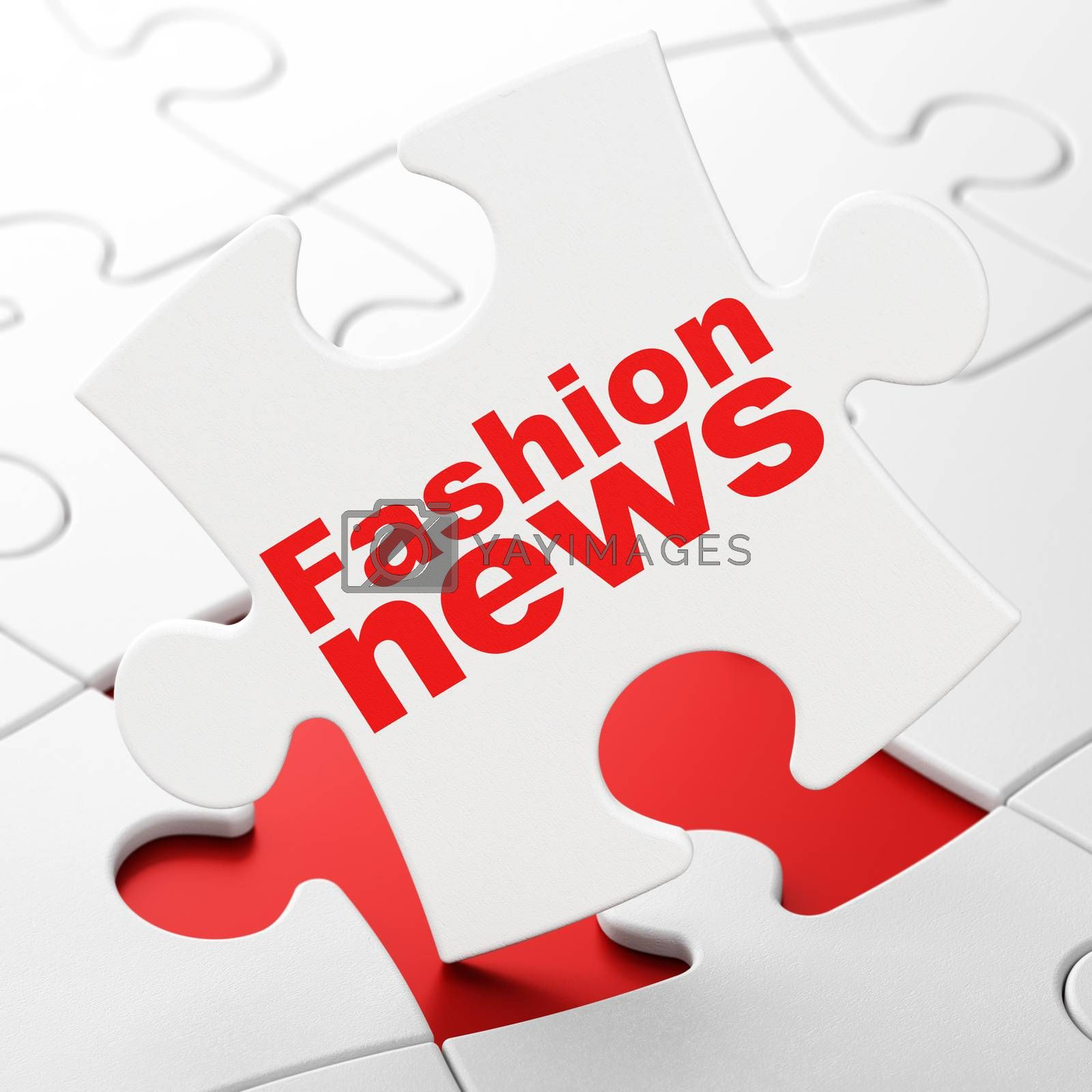 News concept: Fashion News on White puzzle pieces background, 3D rendering