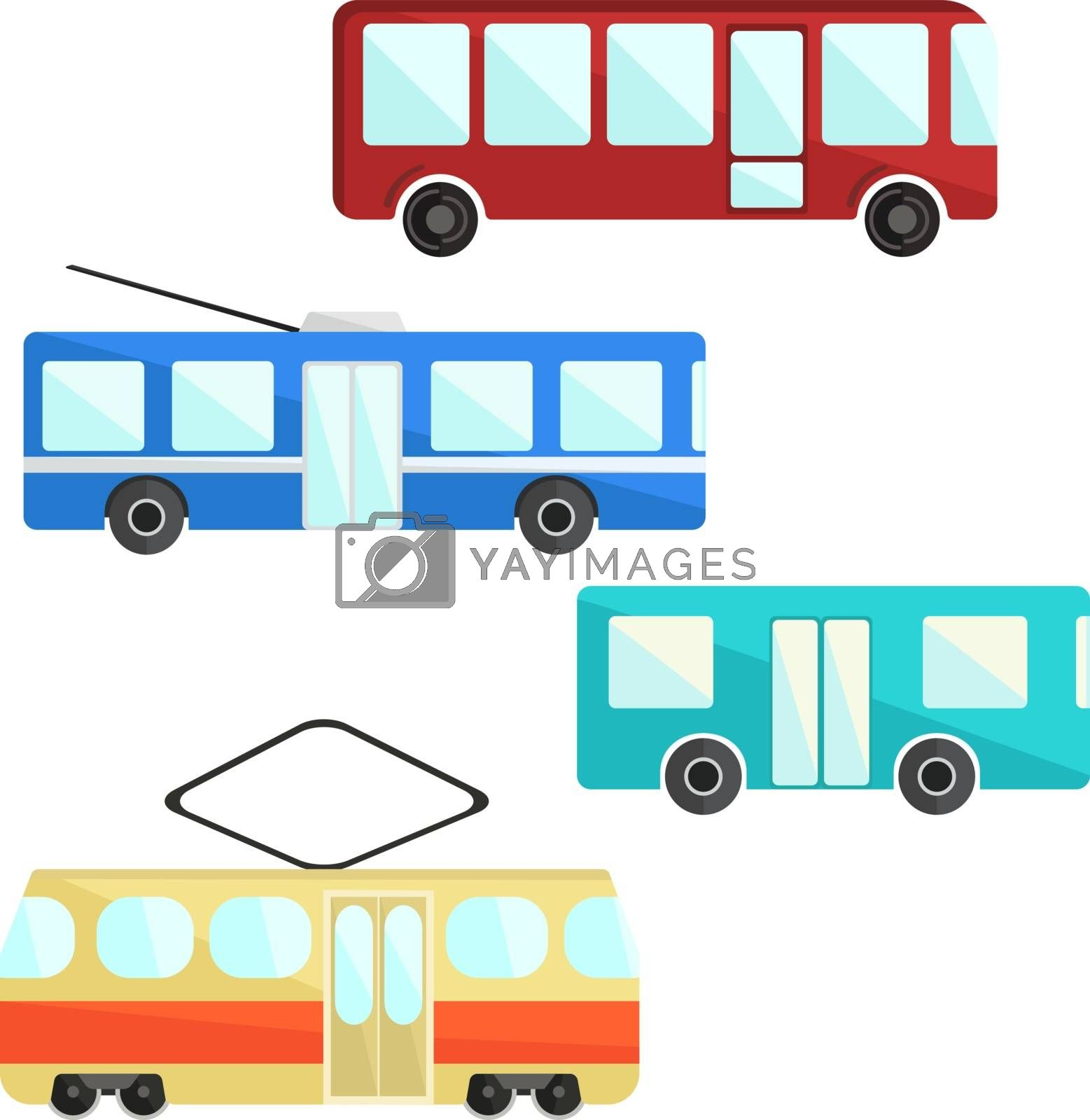 City public transport set. colorful bus, trolly and tram icons