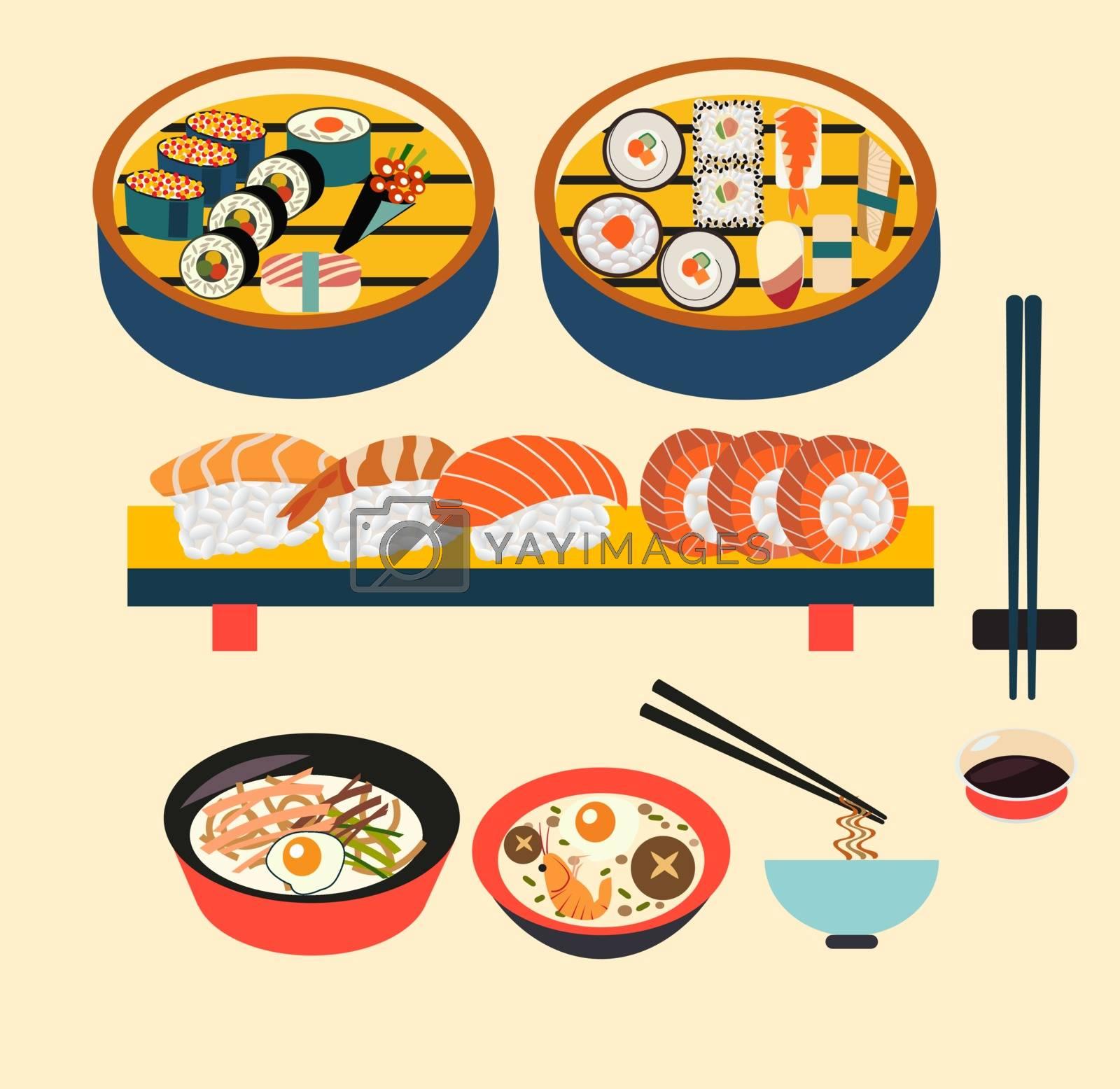 Vector food- Japanese food , Japanese dishes , Sushi set- Illustration