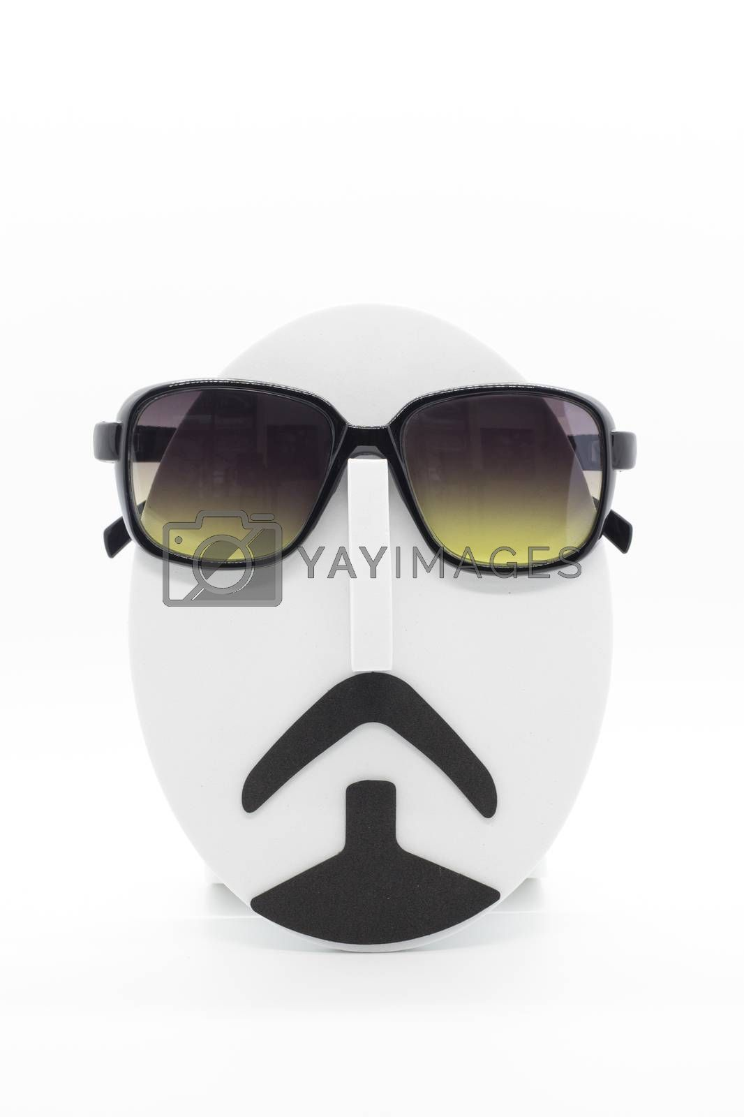 Men's fashion mannequin wearing fashionable sunglasses on white background.