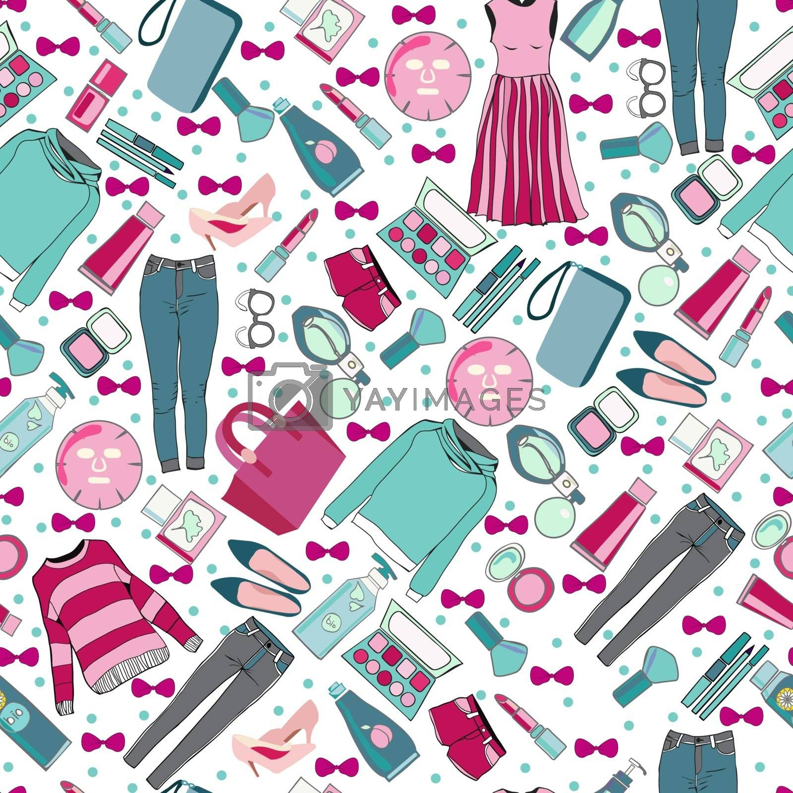 Vector of hand drawn fashion collection of clothes and accessories pattern illustration. Stylish women accessories illustration for card or poster print on clothes.