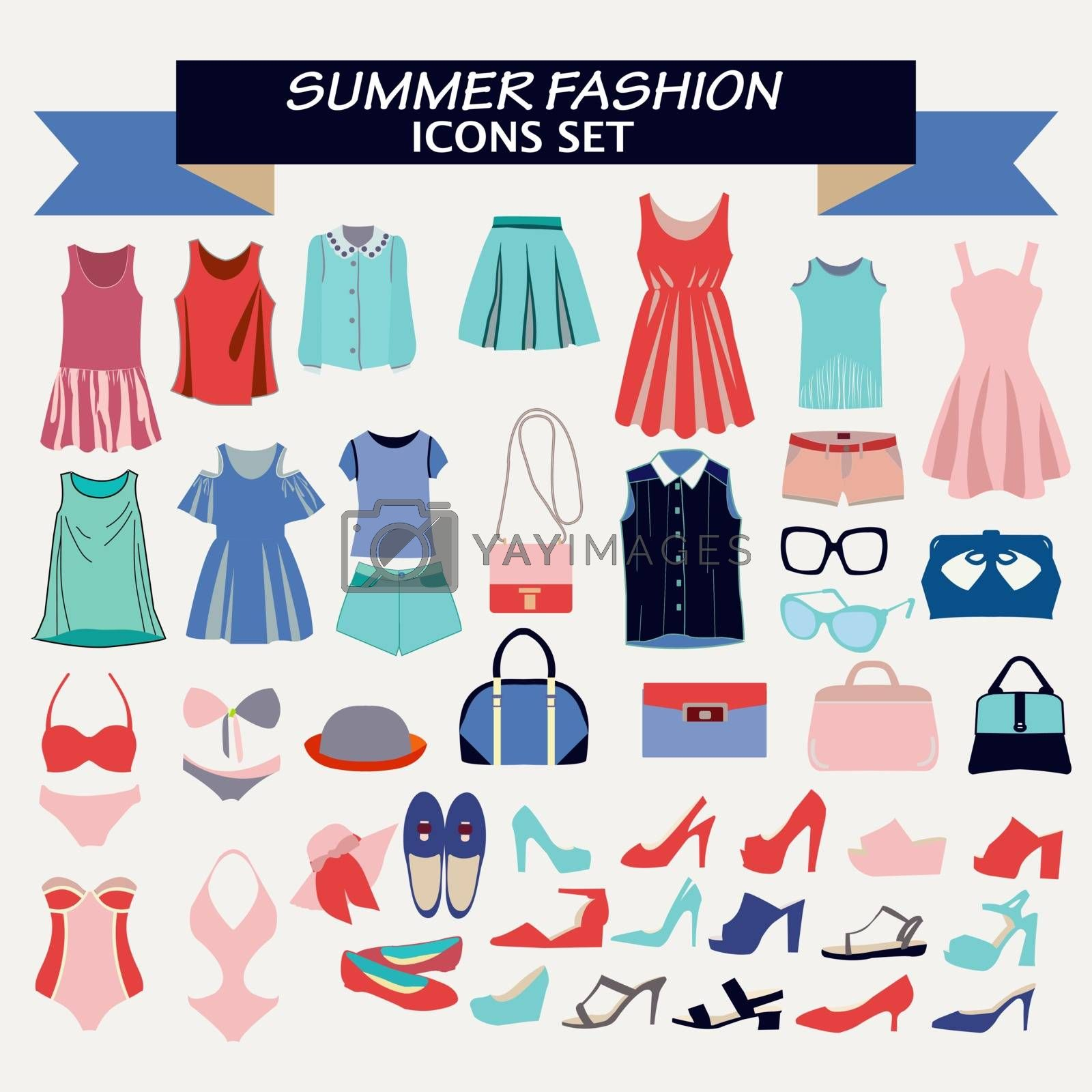 Vector  Fashion beautiful collection of woman clothes  and accessories. Fashion boutique  for design fashion look - Illustration
