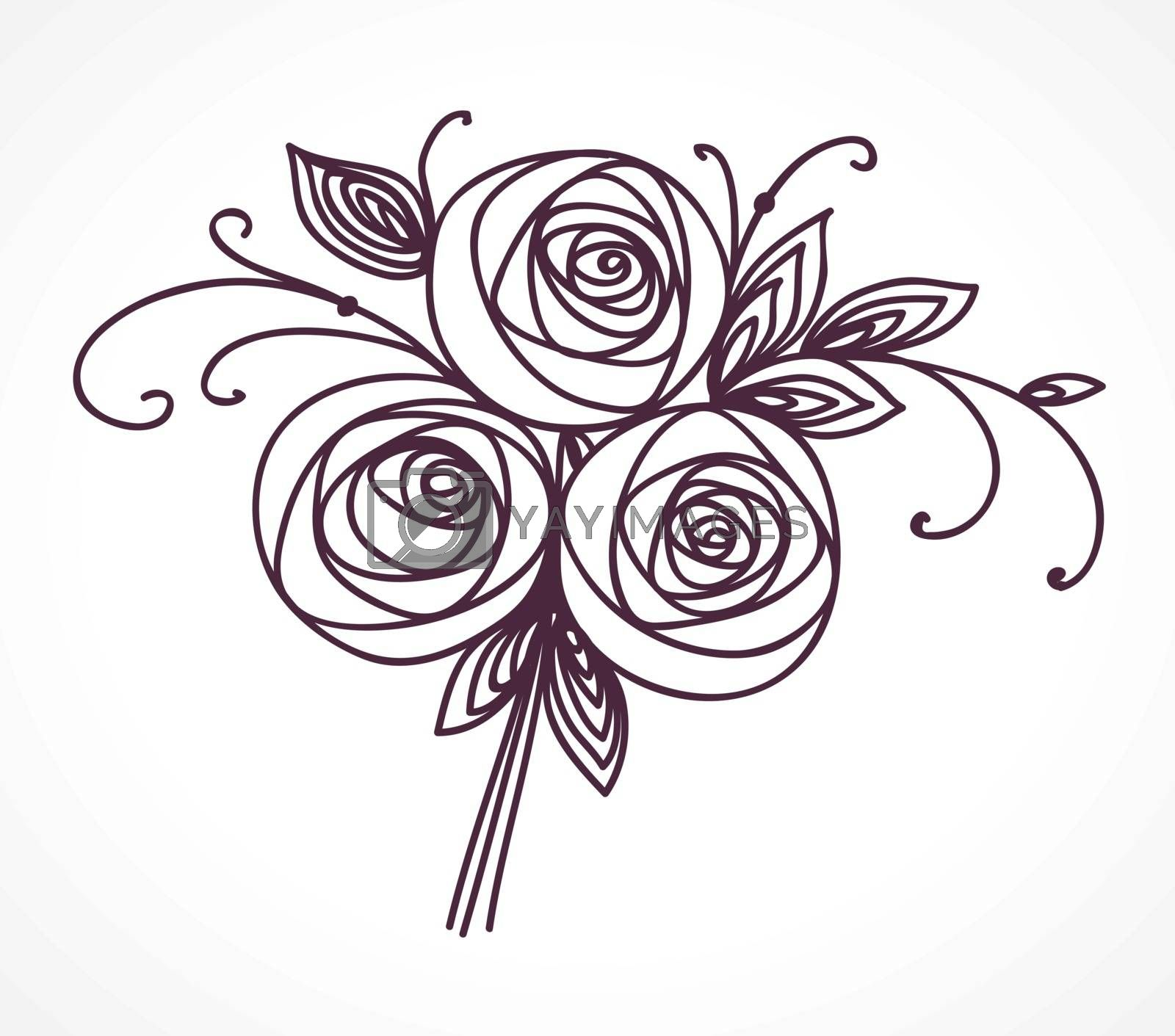 Flower bouquet. Stylized roses hand drawing. Outline icon symbol. Present for wedding, birthday invitation card