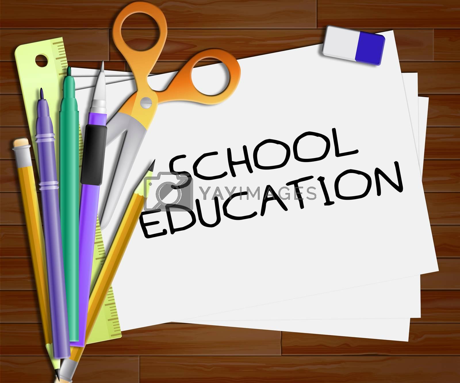 School Education Showing Kids Education 3d Illustration