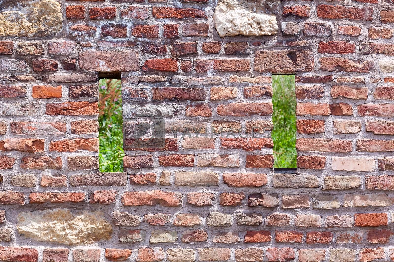 Old brick and stone wall background