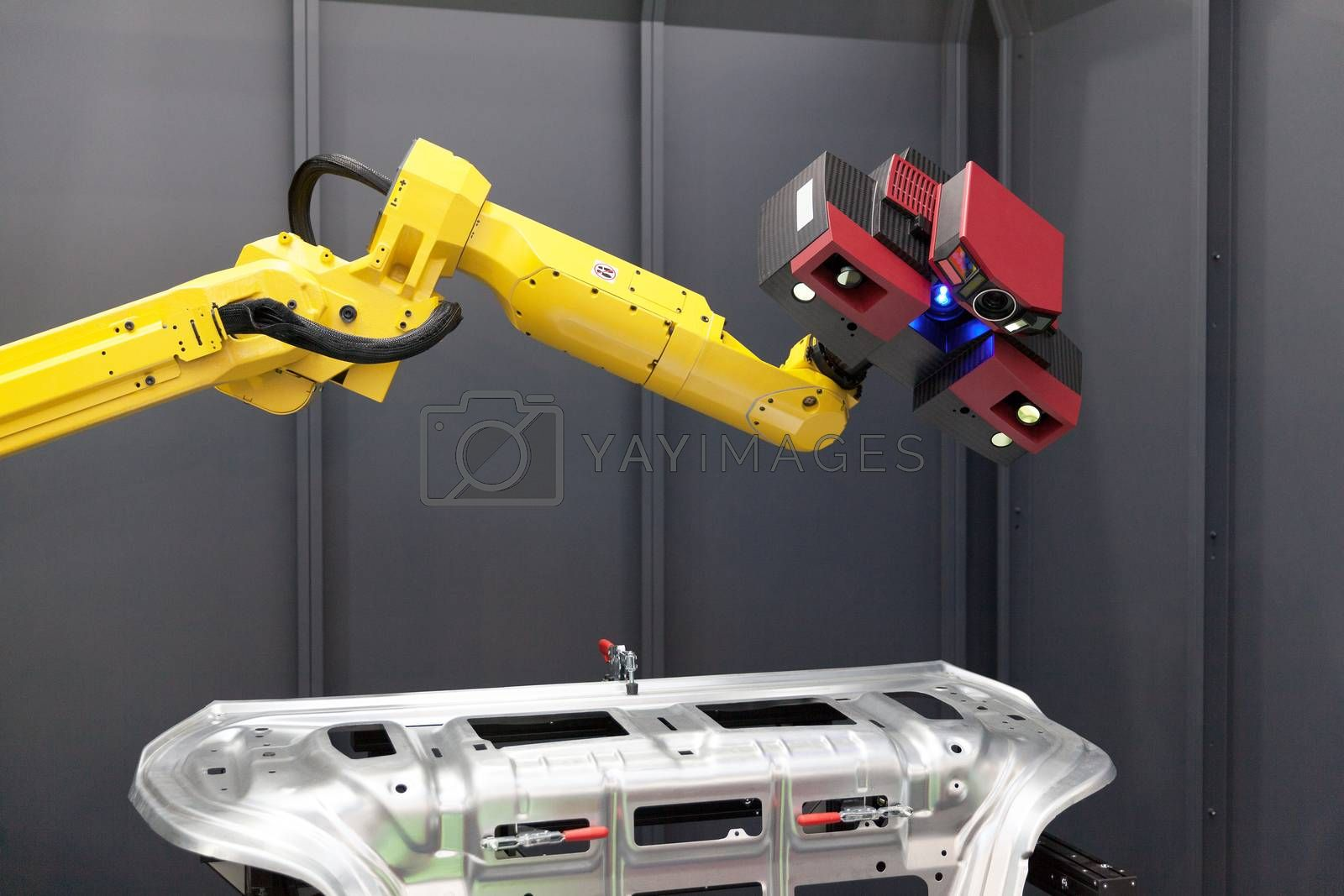 Combined 3D scanner and robotic arm automate scanning. Optical 3D coordinate measuring machine.