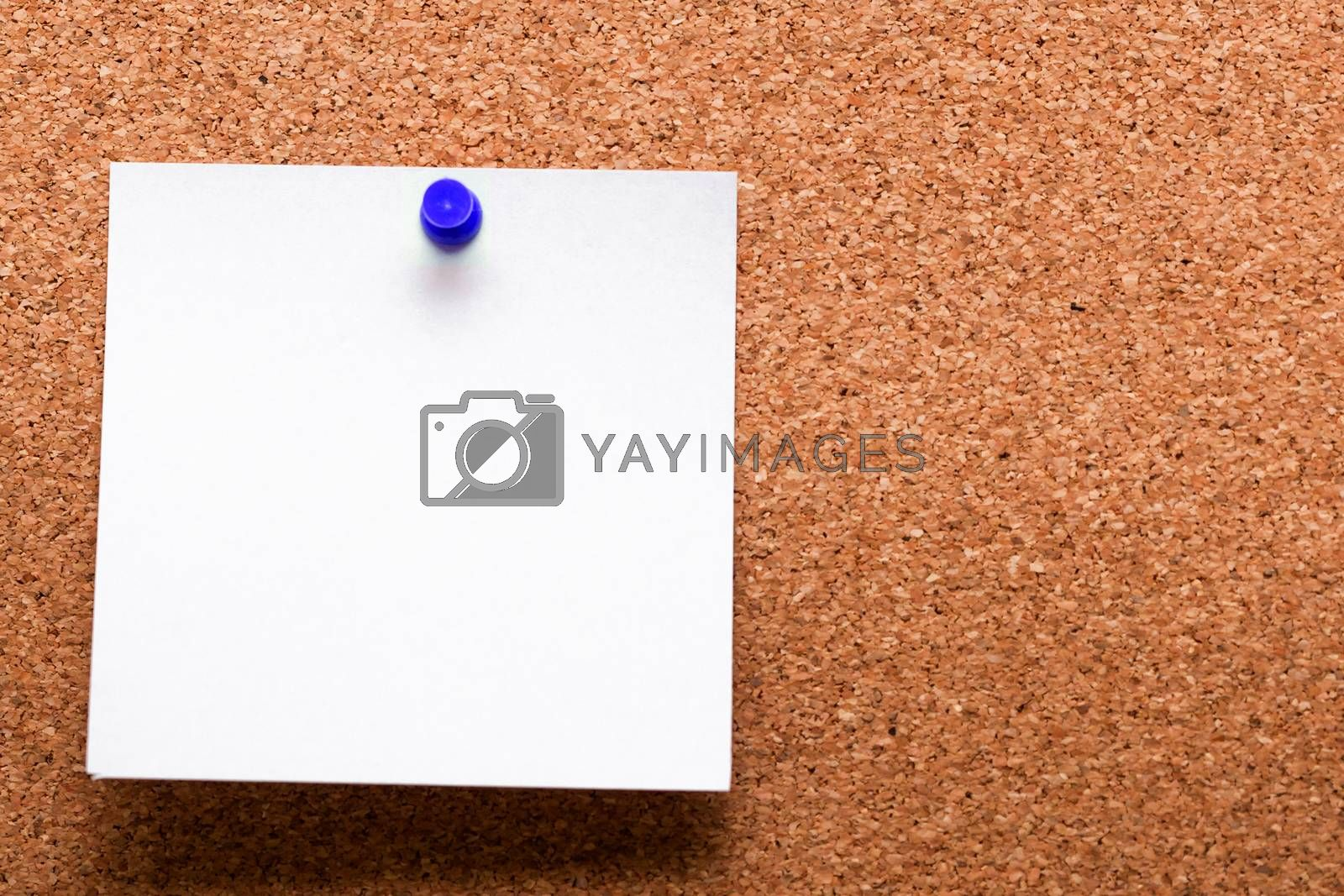 White paper with blue clip nailed on wooden board.