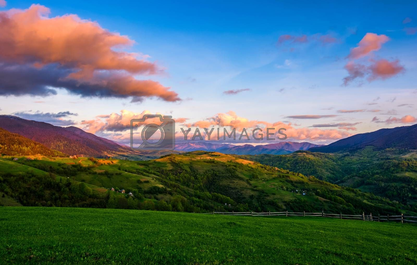 countryside landscape in mountains at sunset by Pellinni