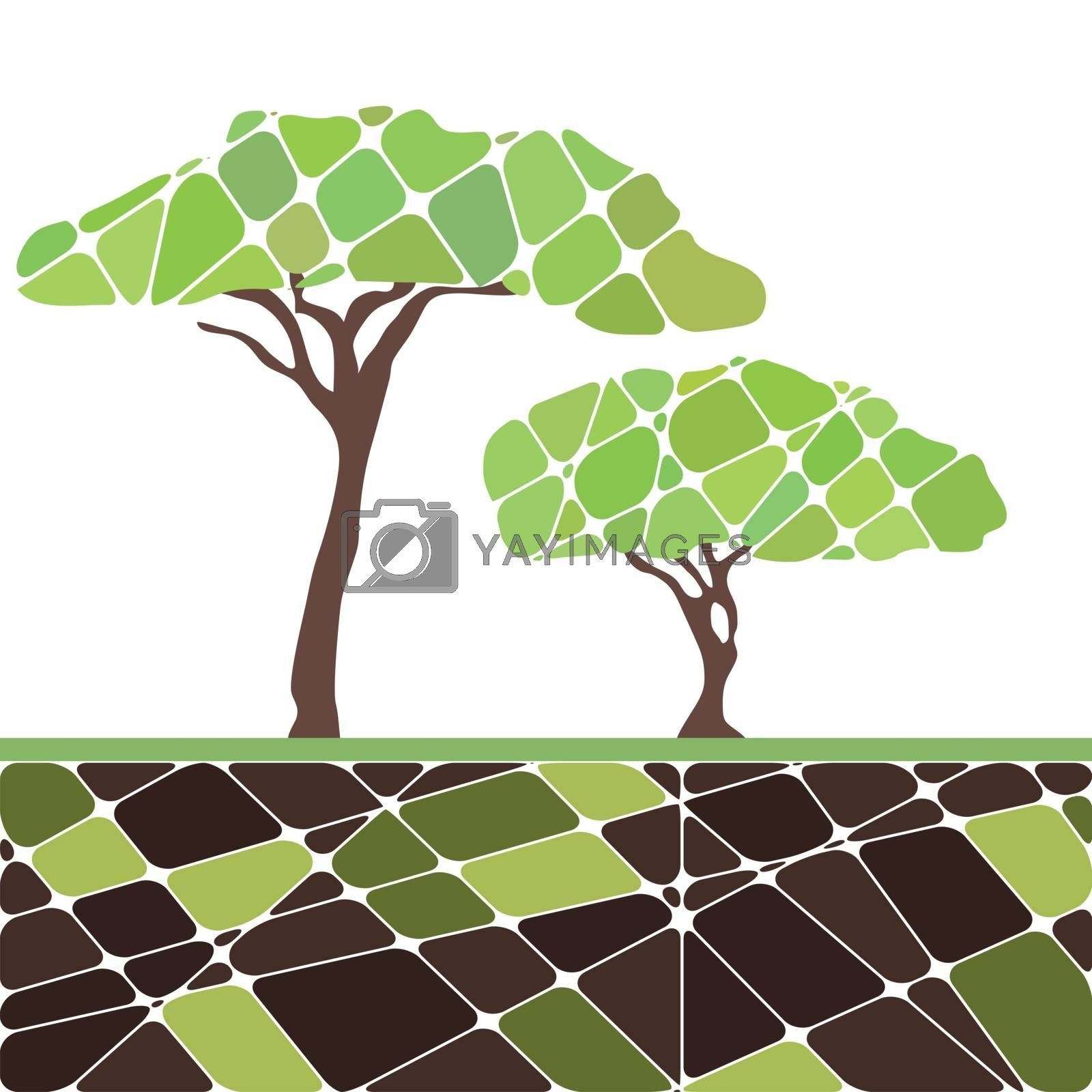 Colorful set with tree and green and leafs