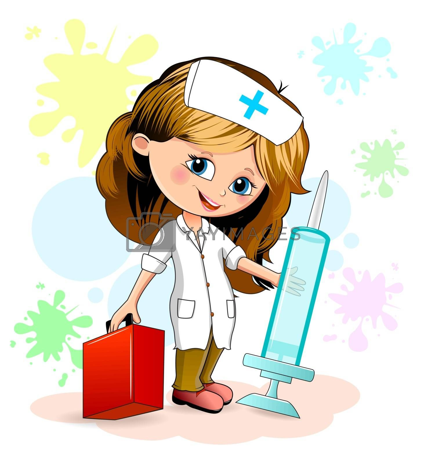 Cartoon little girl in a nurse uniform. A nurse is holding a syringe and a doctor's suitcase.
