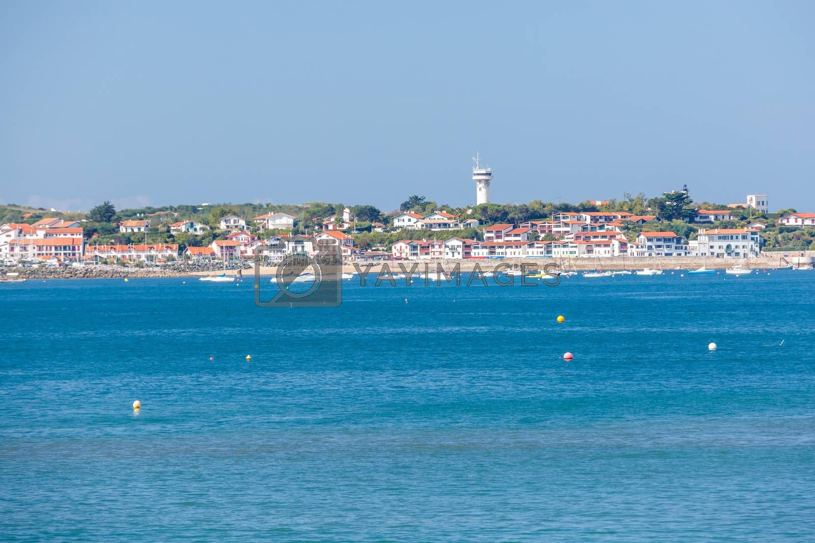 Royalty free image of Saint jean de Luz bay with mountain on background by pixinoo