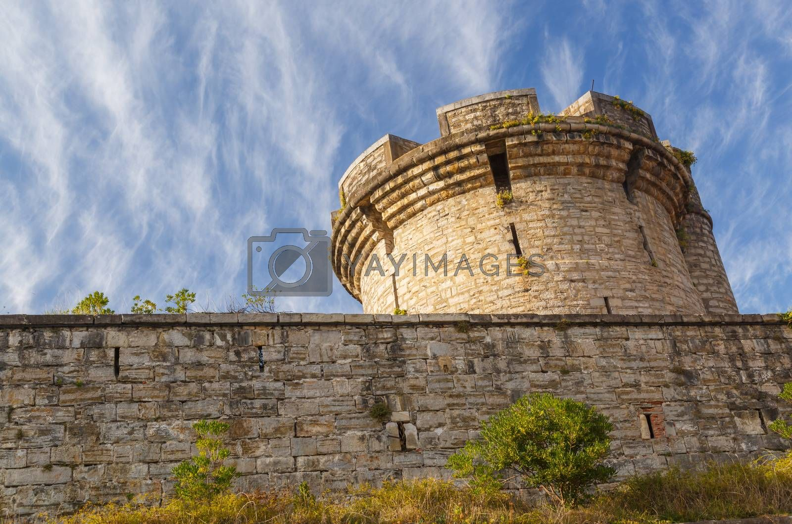Royalty free image of Ancient tower with stone wall by pixinoo