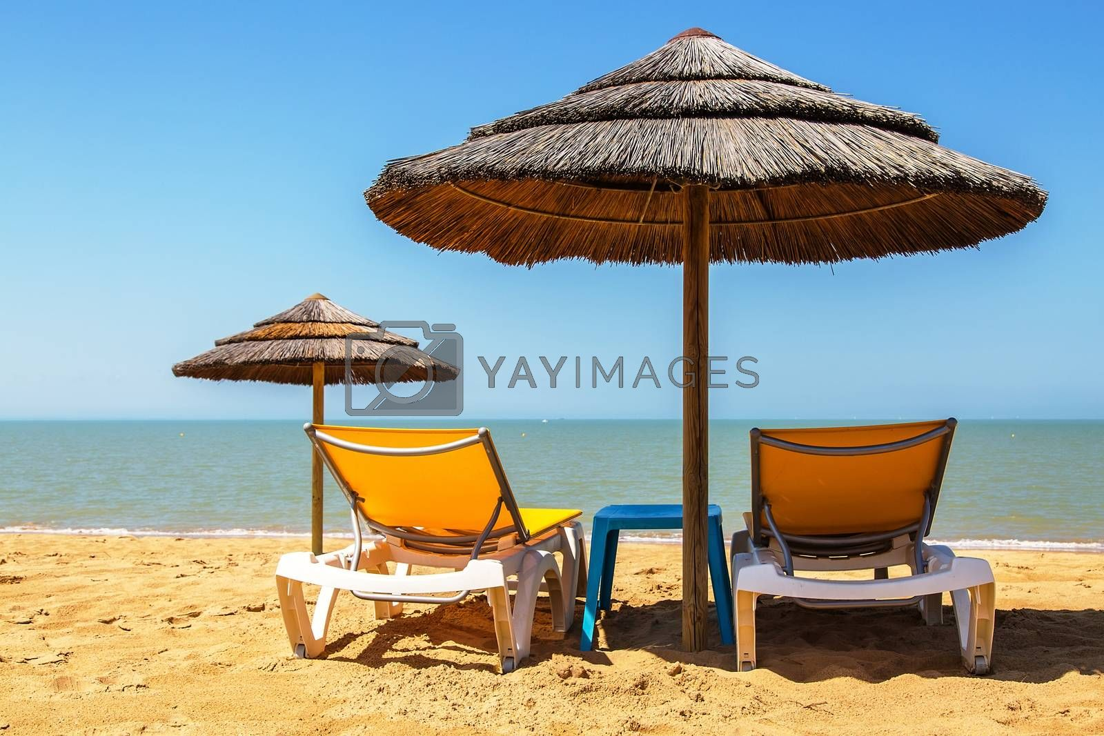 Royalty free image of Beach umbrellas and deckchair on the tropical beach by pixinoo