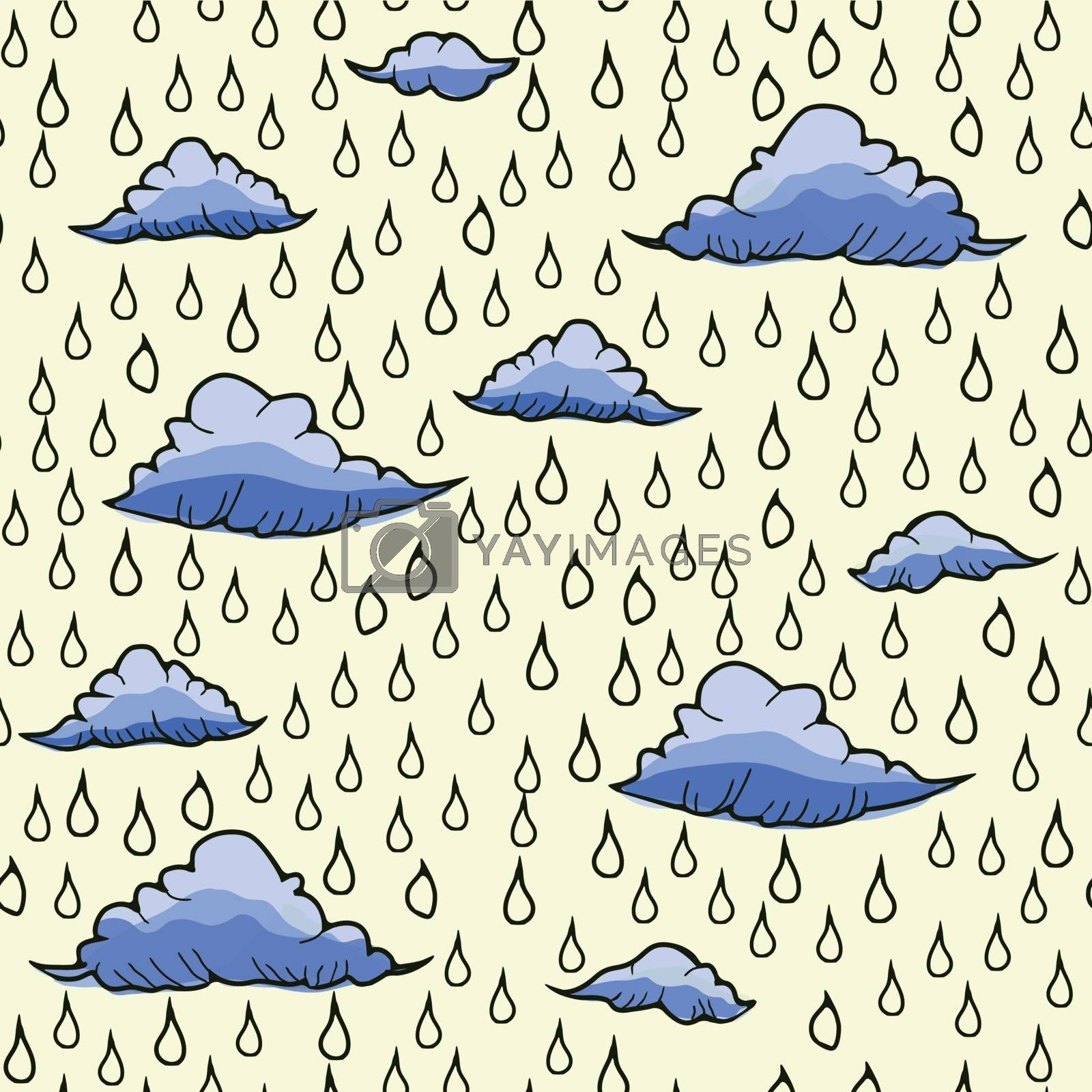 Abstract colourful vector background with rain and clouds