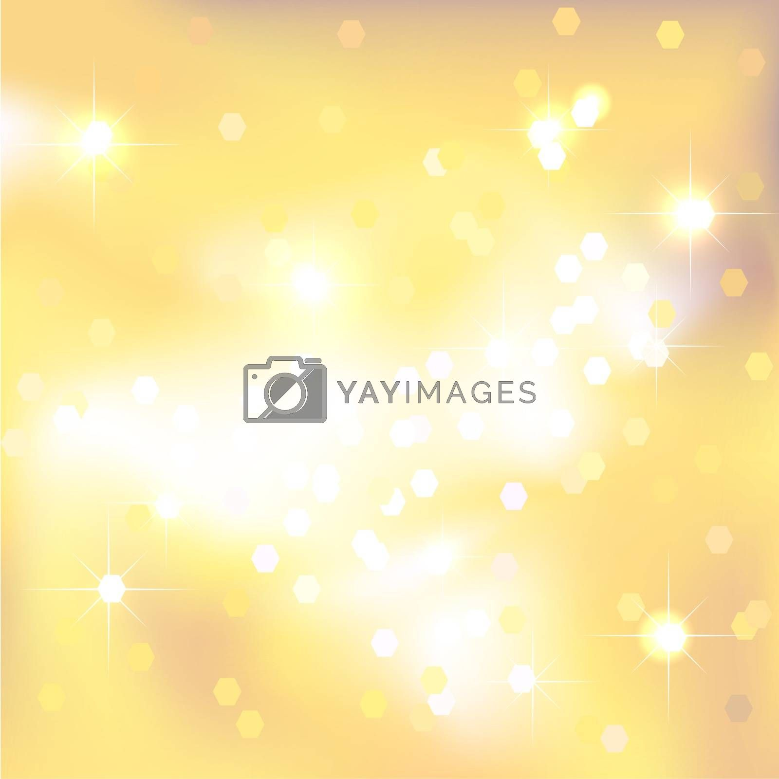 Gold abstract background with light spots and stars. Magical New Year, Christmas event style background