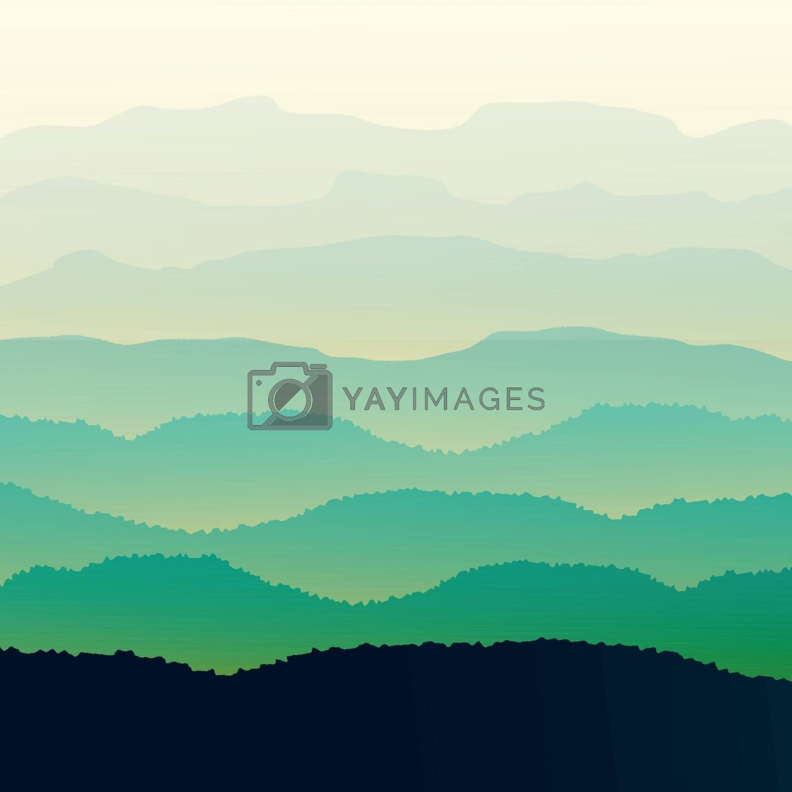Panorama vector illustration of mountain ridges, based on the Smokey Mountains