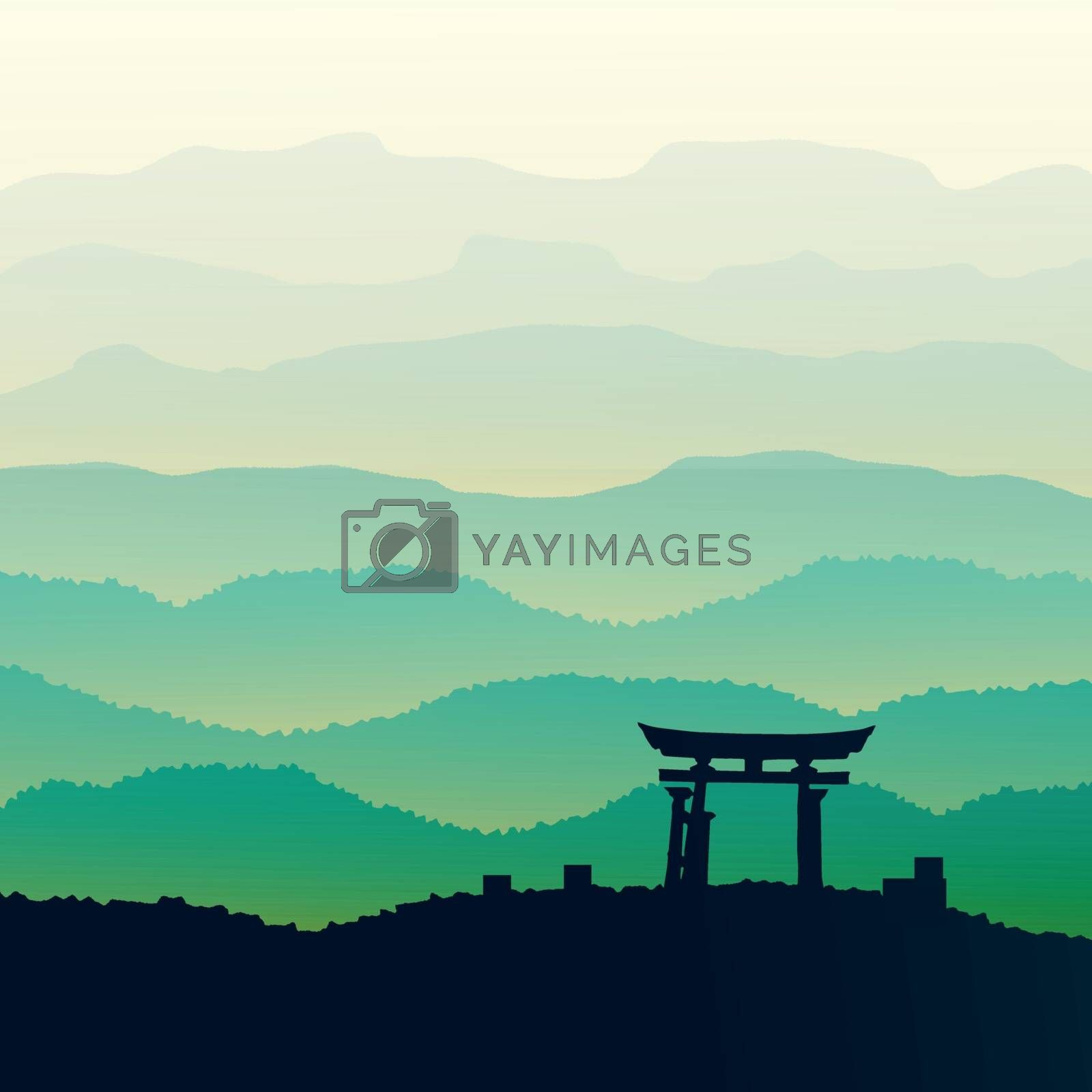 Panorama vector illustration of mountain ridges , based on the Smokey Mountains