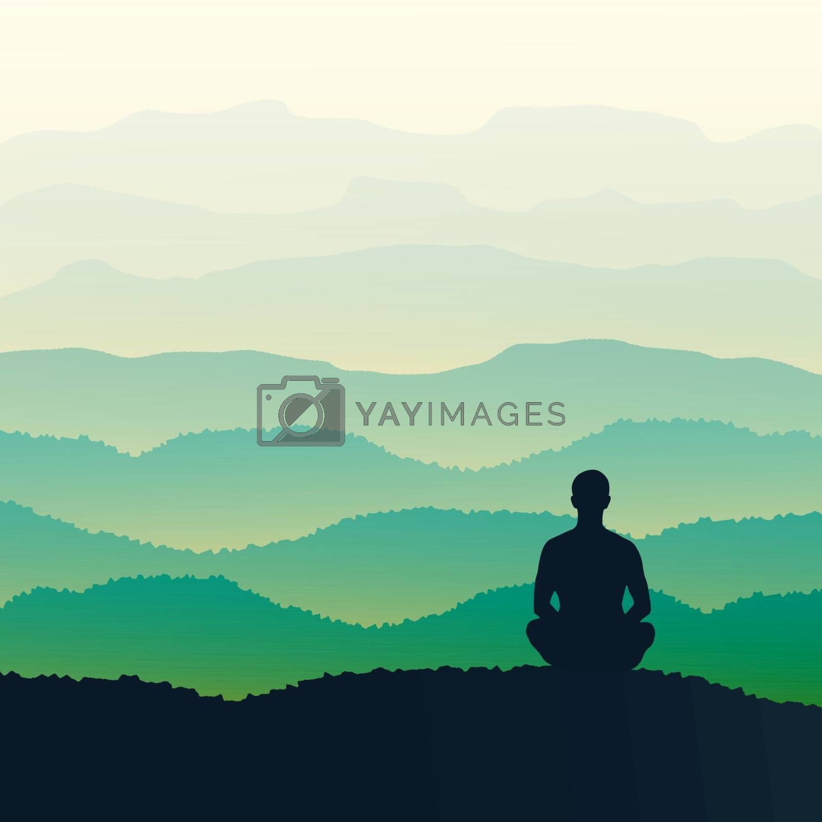 Man meditates in the nature, mountains. Vector illustration