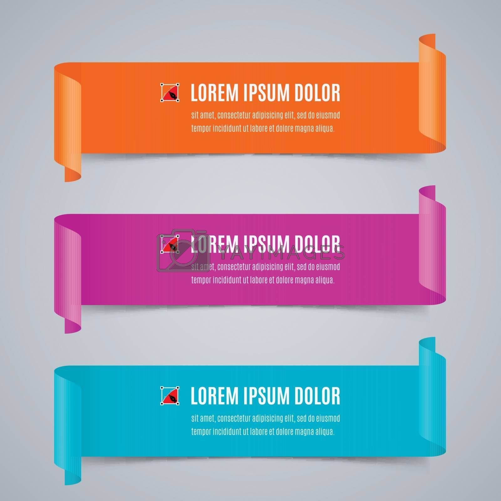 Set of Colorful Horizontal Curved Paper Ribbon Banners with Paper Rolls and Template Text in Orange, Pink and Blue Colors