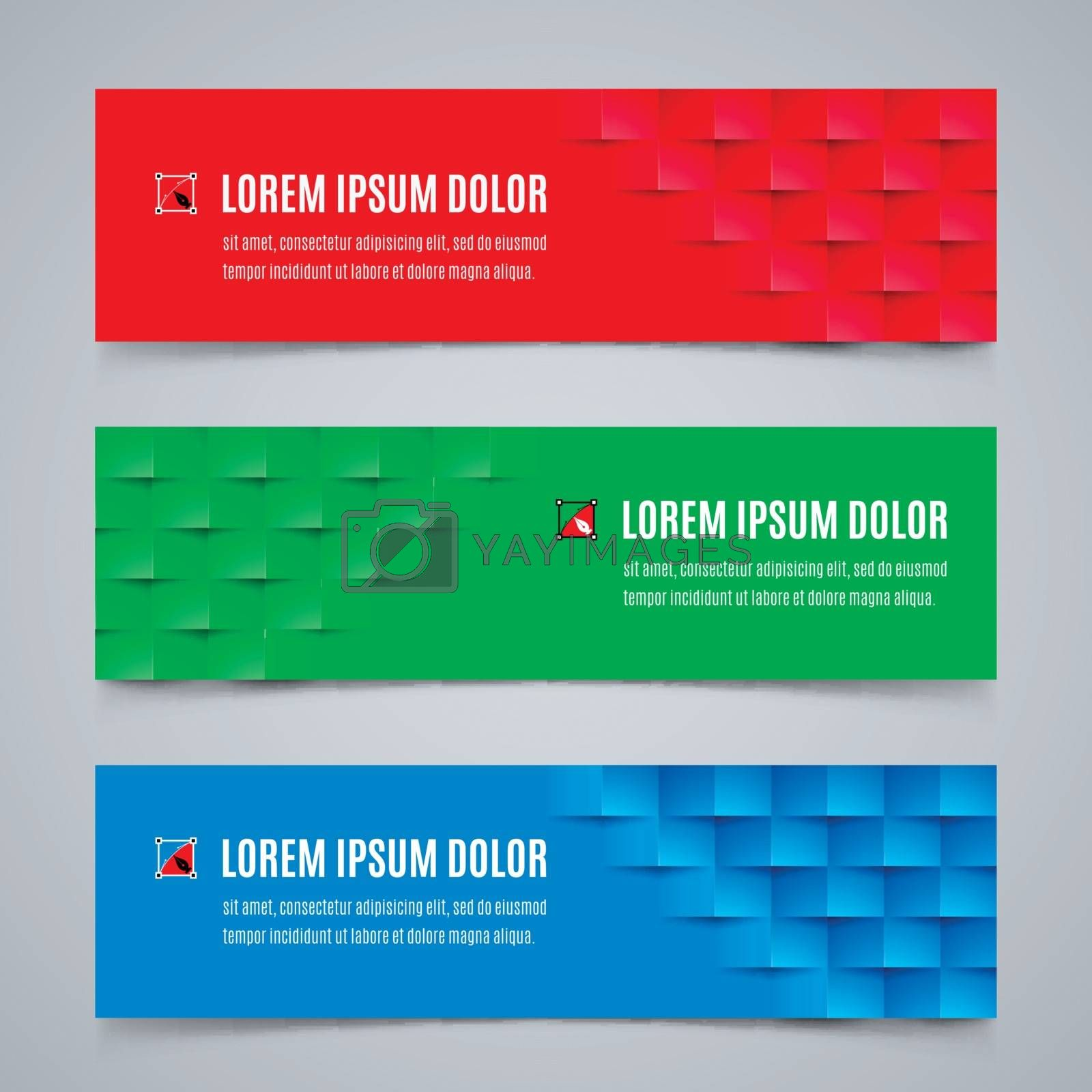 Set of Modern Design Banners Template with Abstract Geometric Pattern in Red, Blue and Green Colors