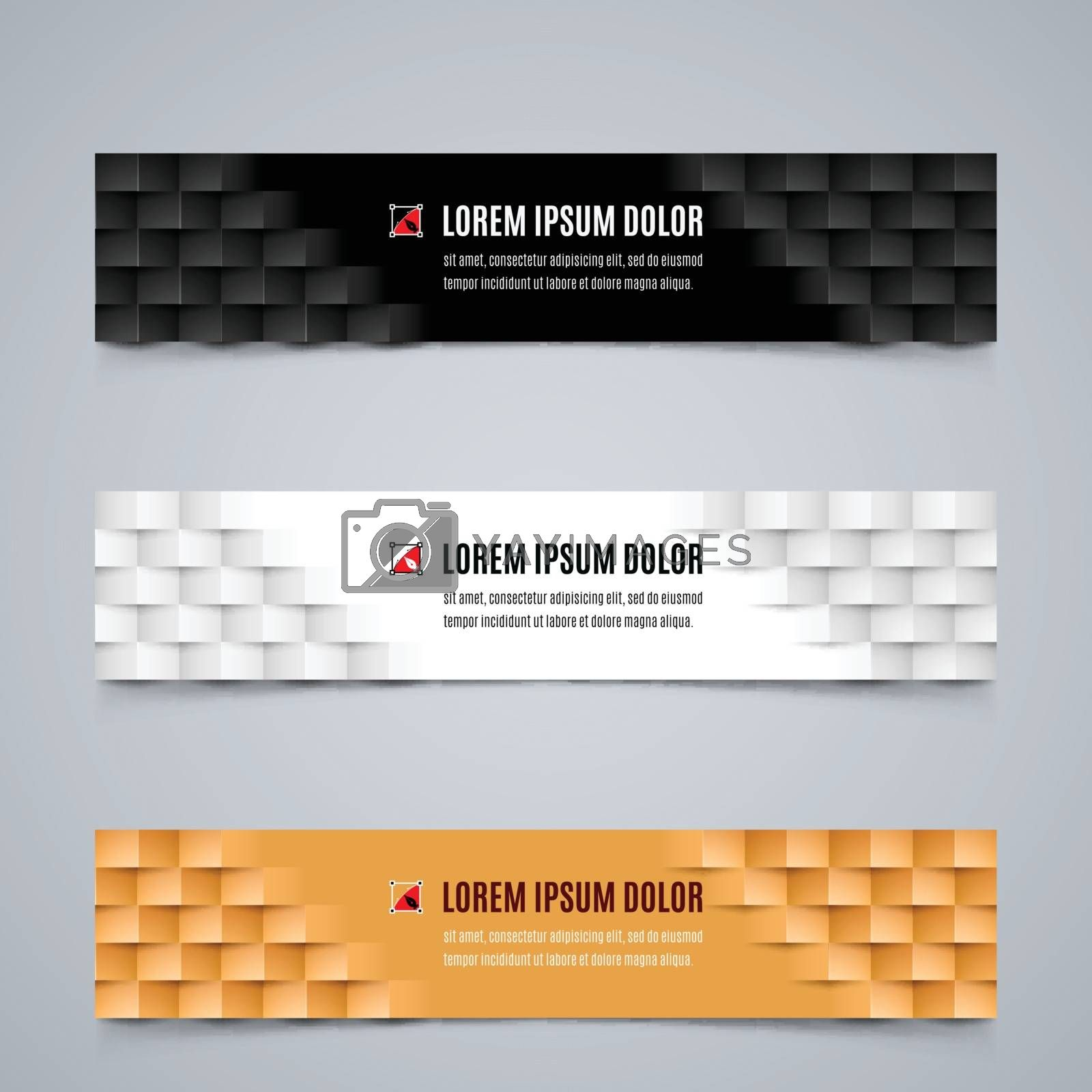 Set of Modern Banners Template with Geometric Pattern in White, Black and Orange Colors