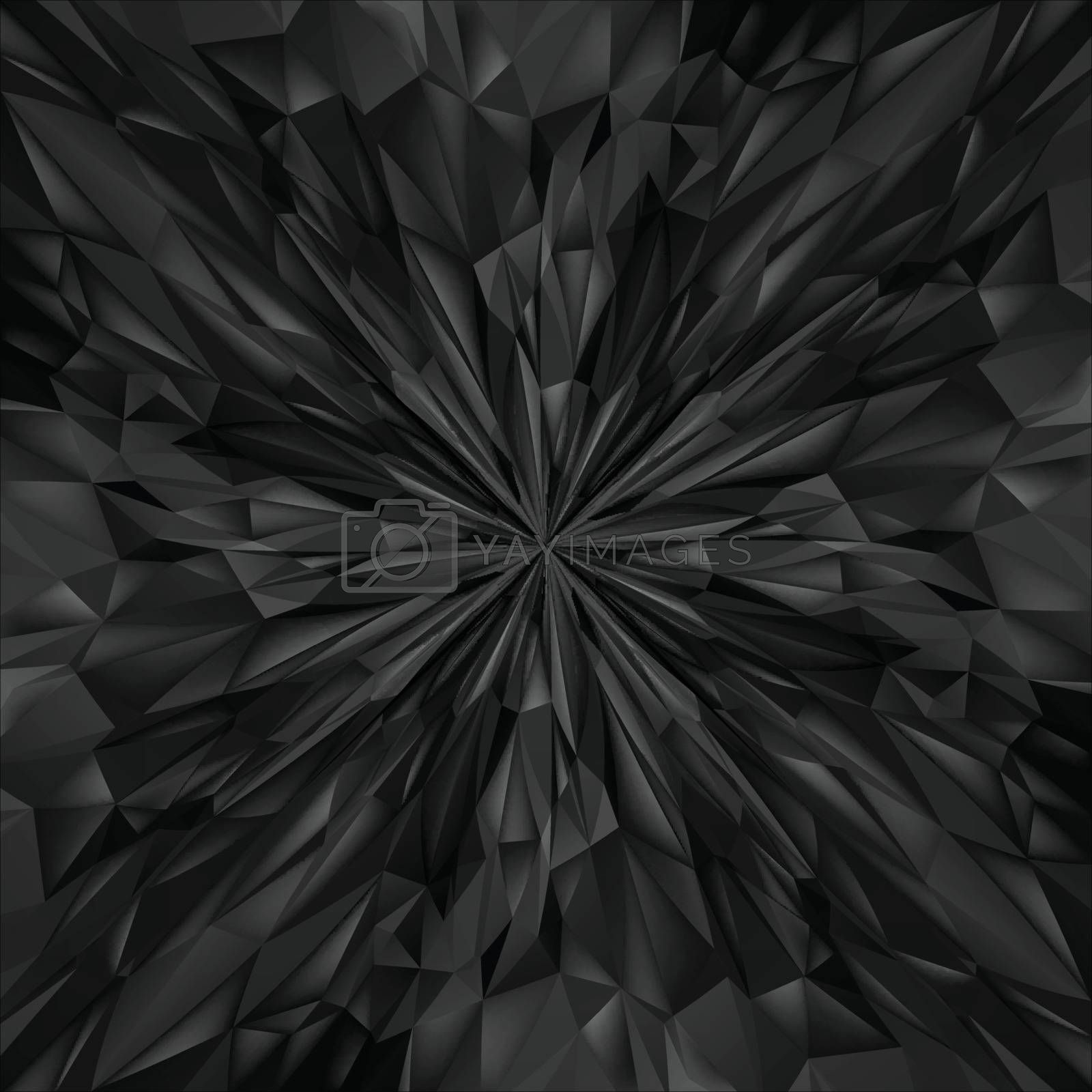 Abstract Black Composition. Magic Explosion Star with Particles. Illustration for Design