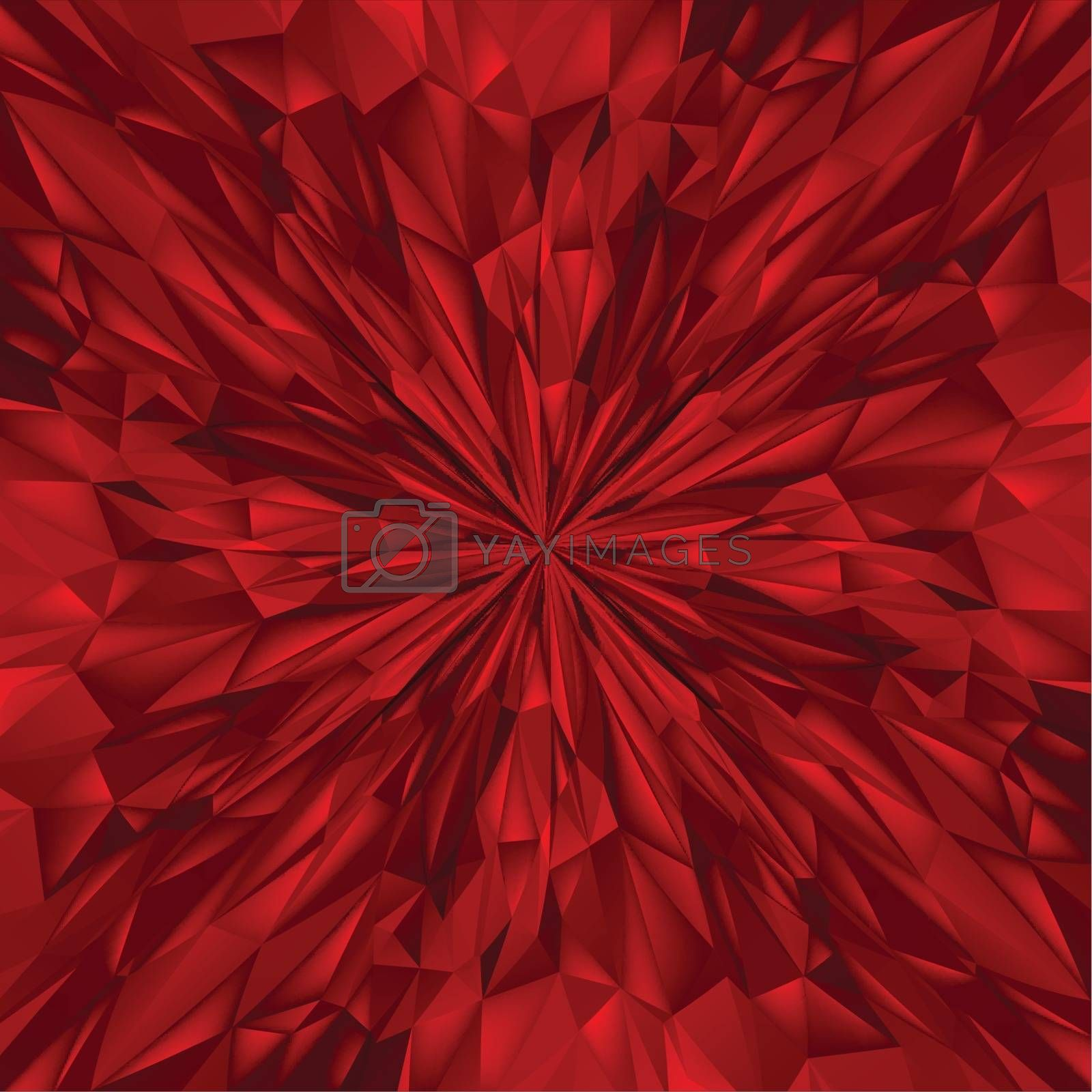 Abstract Red Composition. Magic Explosion Star with Particles. Illustration for Design