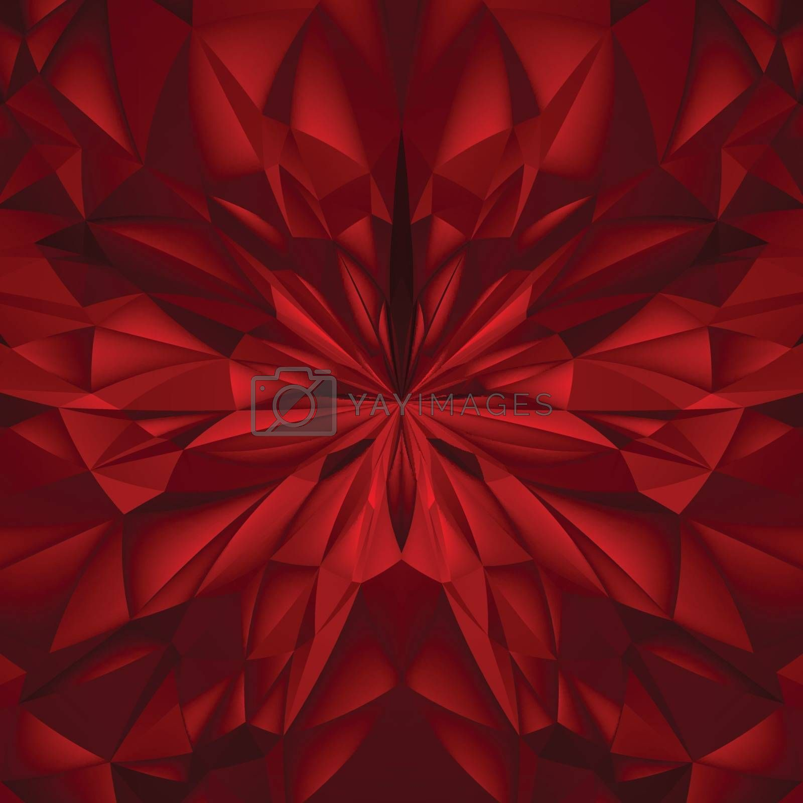 Abstract Red Composition. Magic Explosion Star with Particles