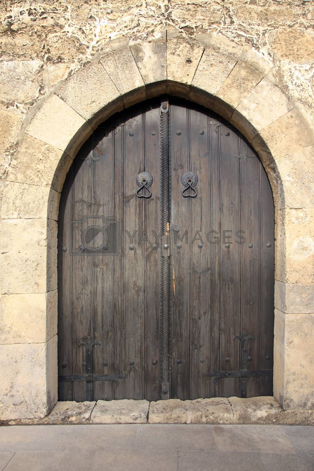 Old door in city of Paralimni