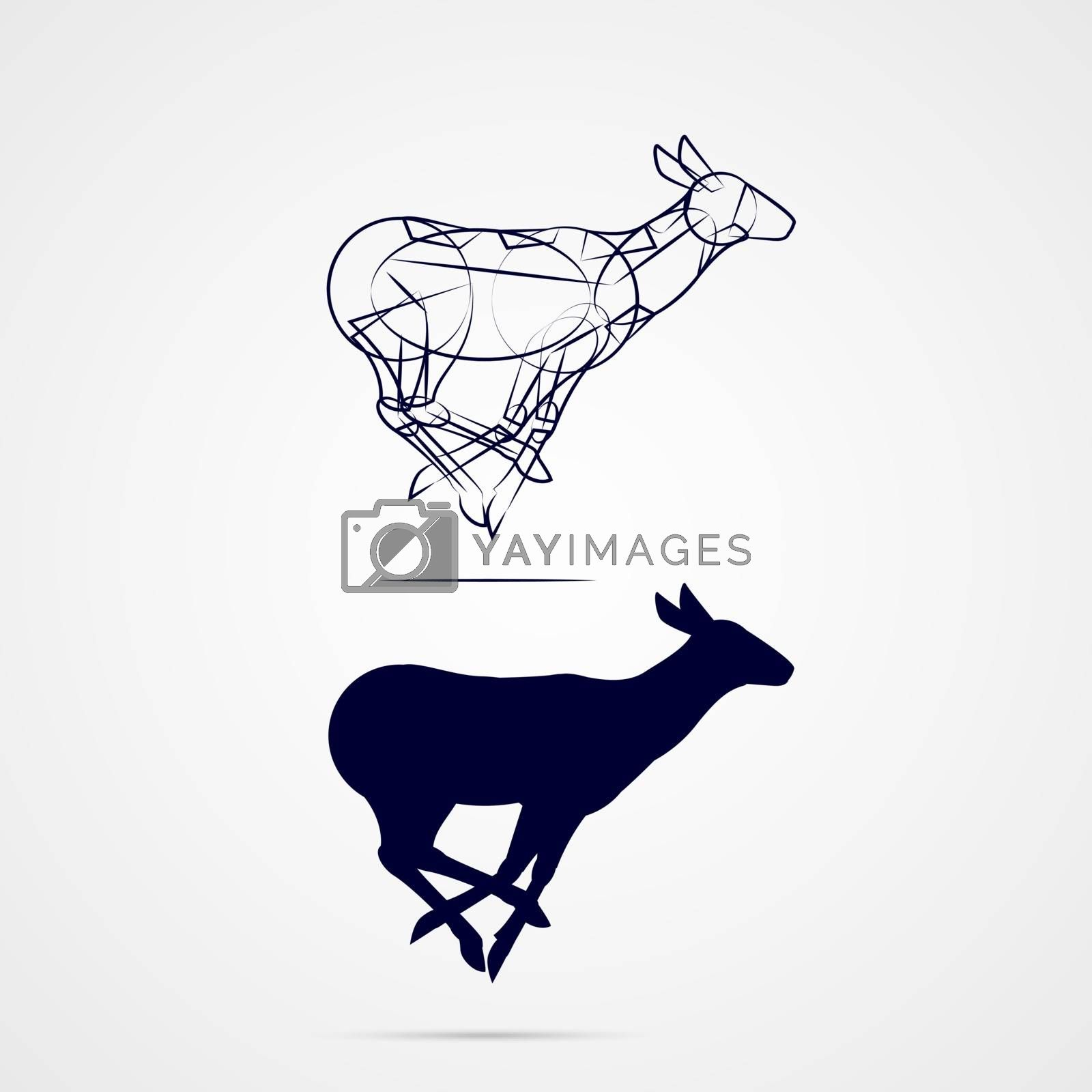 Young Deer Silhouette with Sketch Running on Gray Background