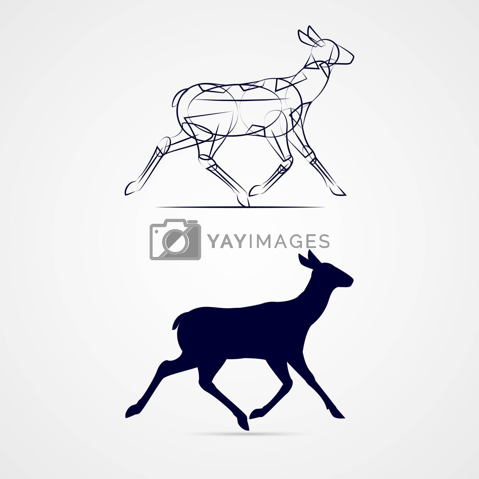 Illustration of Young Deer Silhouette with Sketch Running on Gray Background