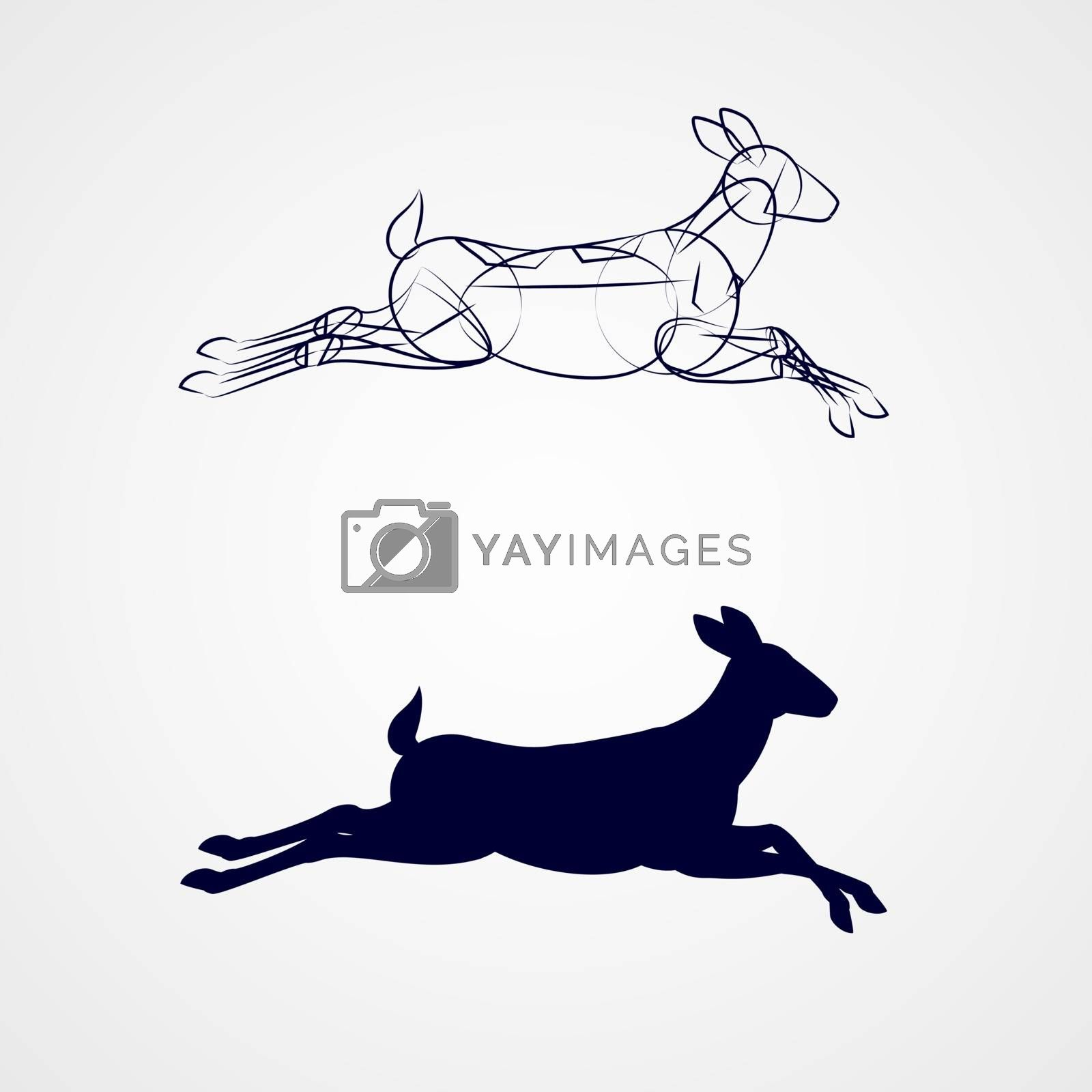 Female Deer Silhouette with Sketch Running on Gray Background