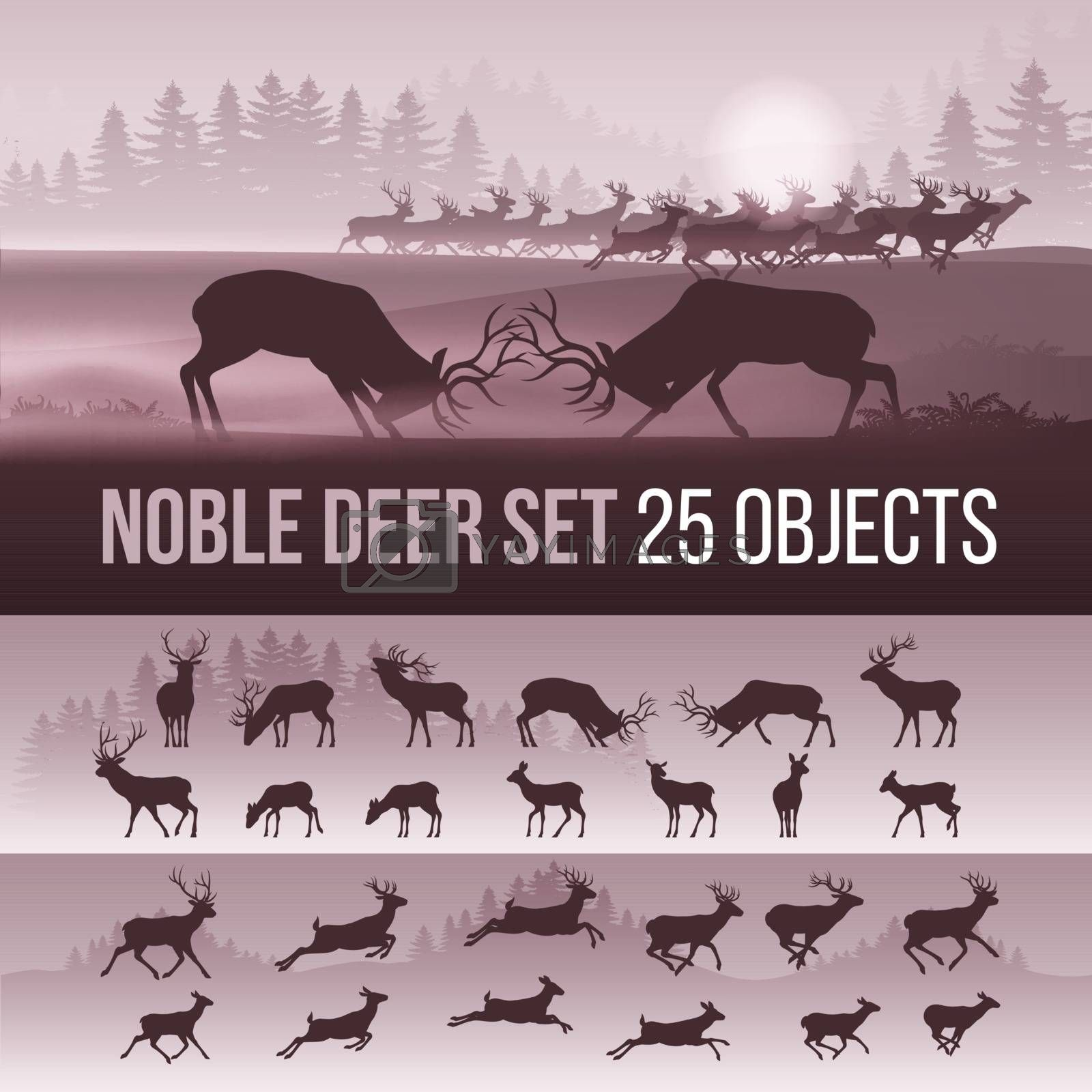 Wildlife Foggy Coniferous Forest Background with Trees and Deer Silhouettes