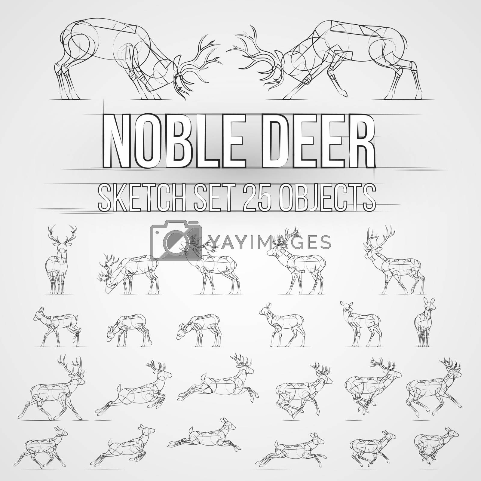 Illustration with Deer Sketch Silhouettes Isolated on Gray Background