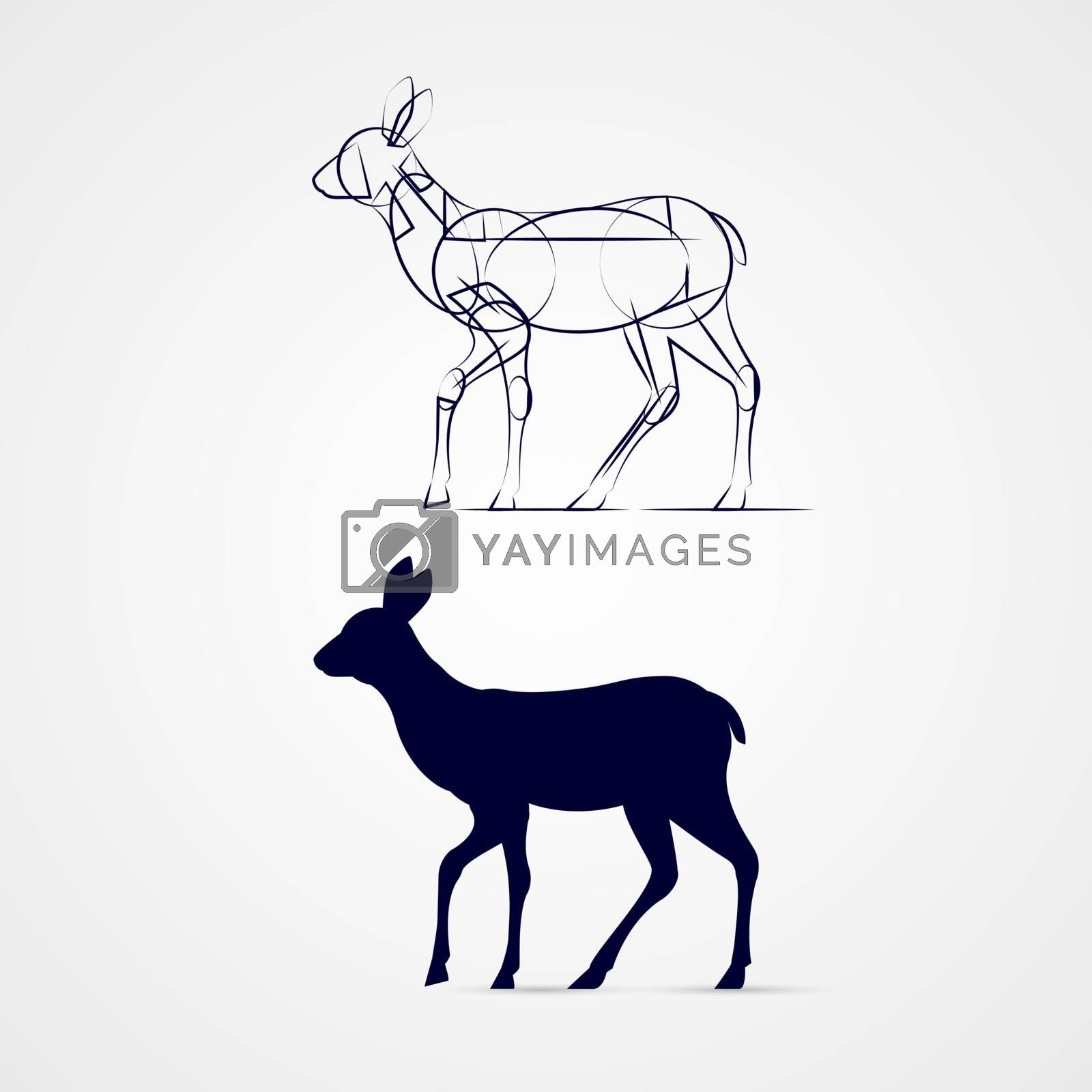 Young Deer Silhouette Standing with Sketch Template on Gray