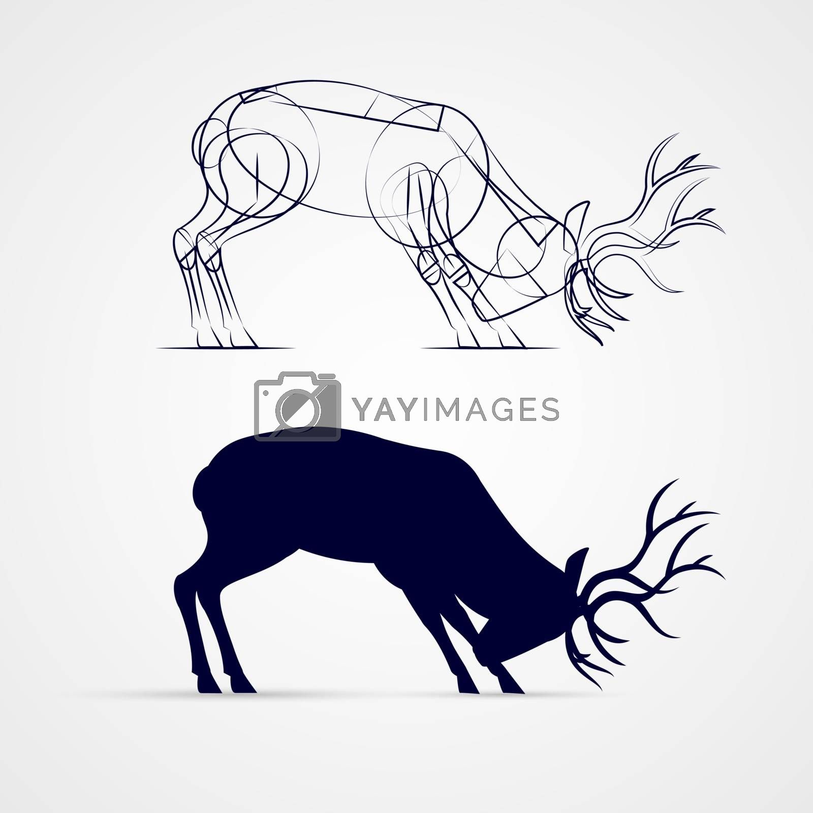 Horned Deer Silhouette with Sketch Template on Gray Background