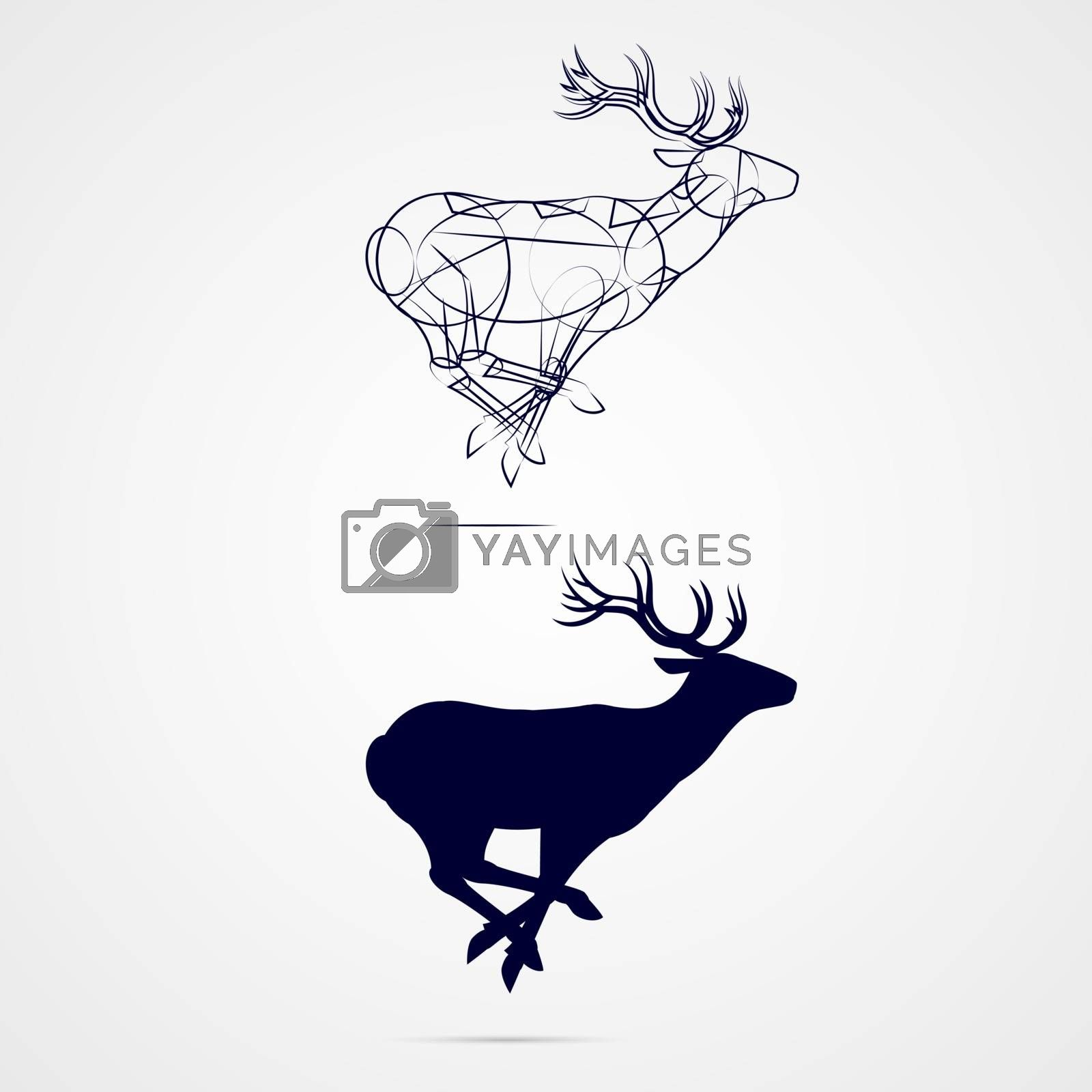 Running Horned Deer Silhouette with Sketch Template on Gray