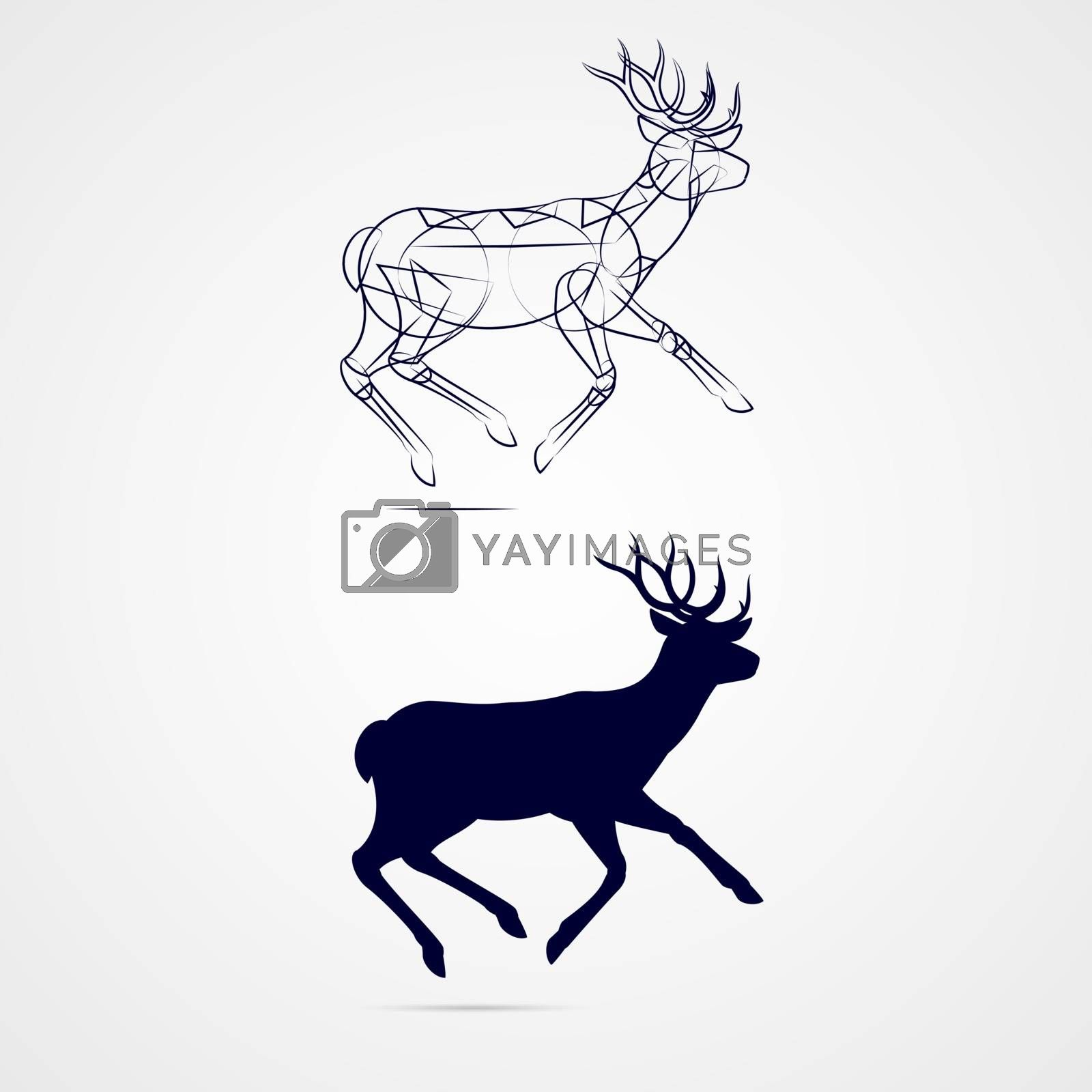 Running Horned Deer Silhouette with Sketch Template