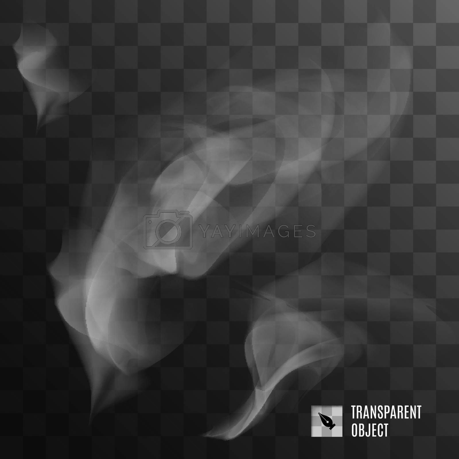 Realistic Smoke or Fog on Transparent Background. Cool Template for Creative Ideas