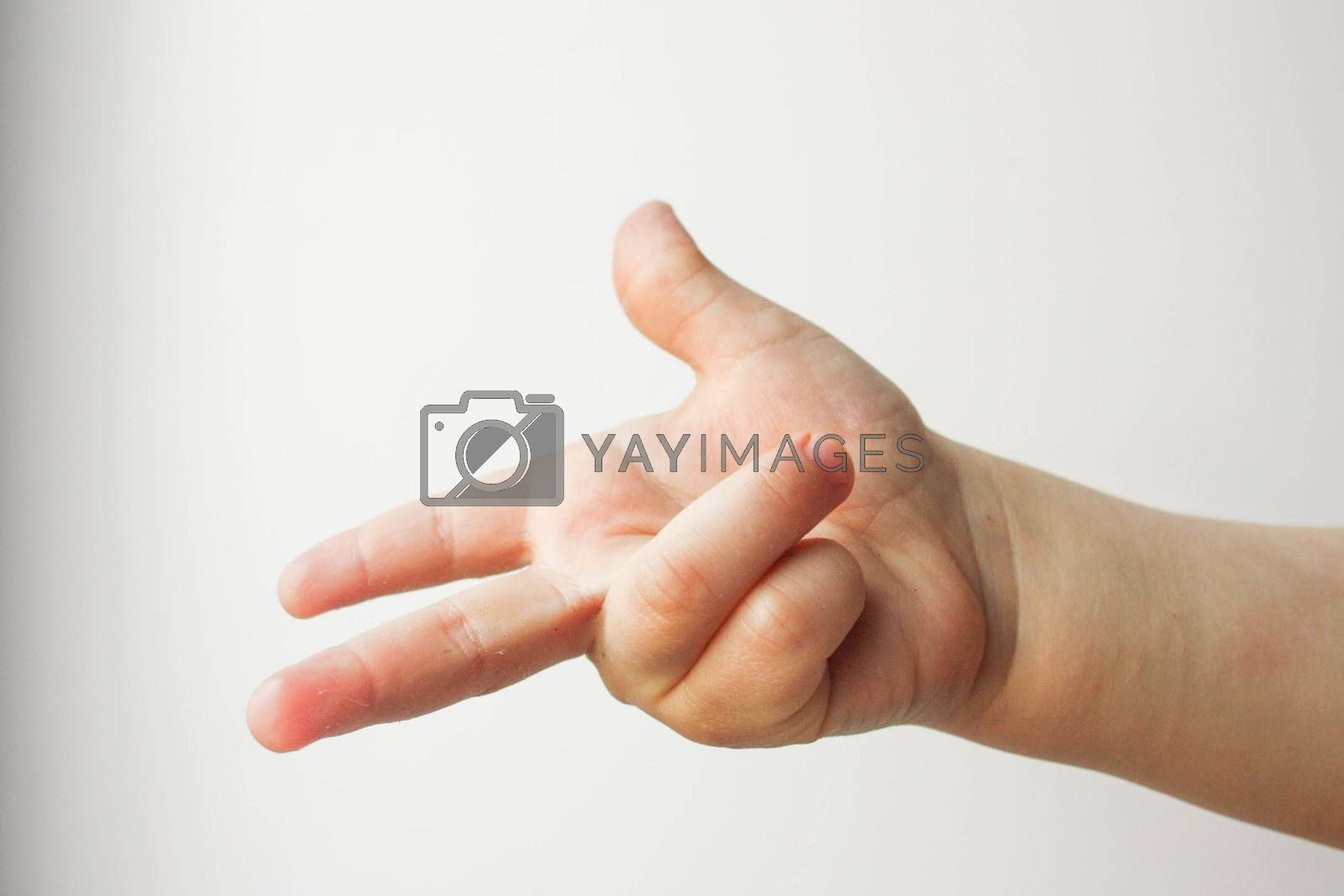 Finger counts two. Child. all is well. Over white background. Photo for your design
