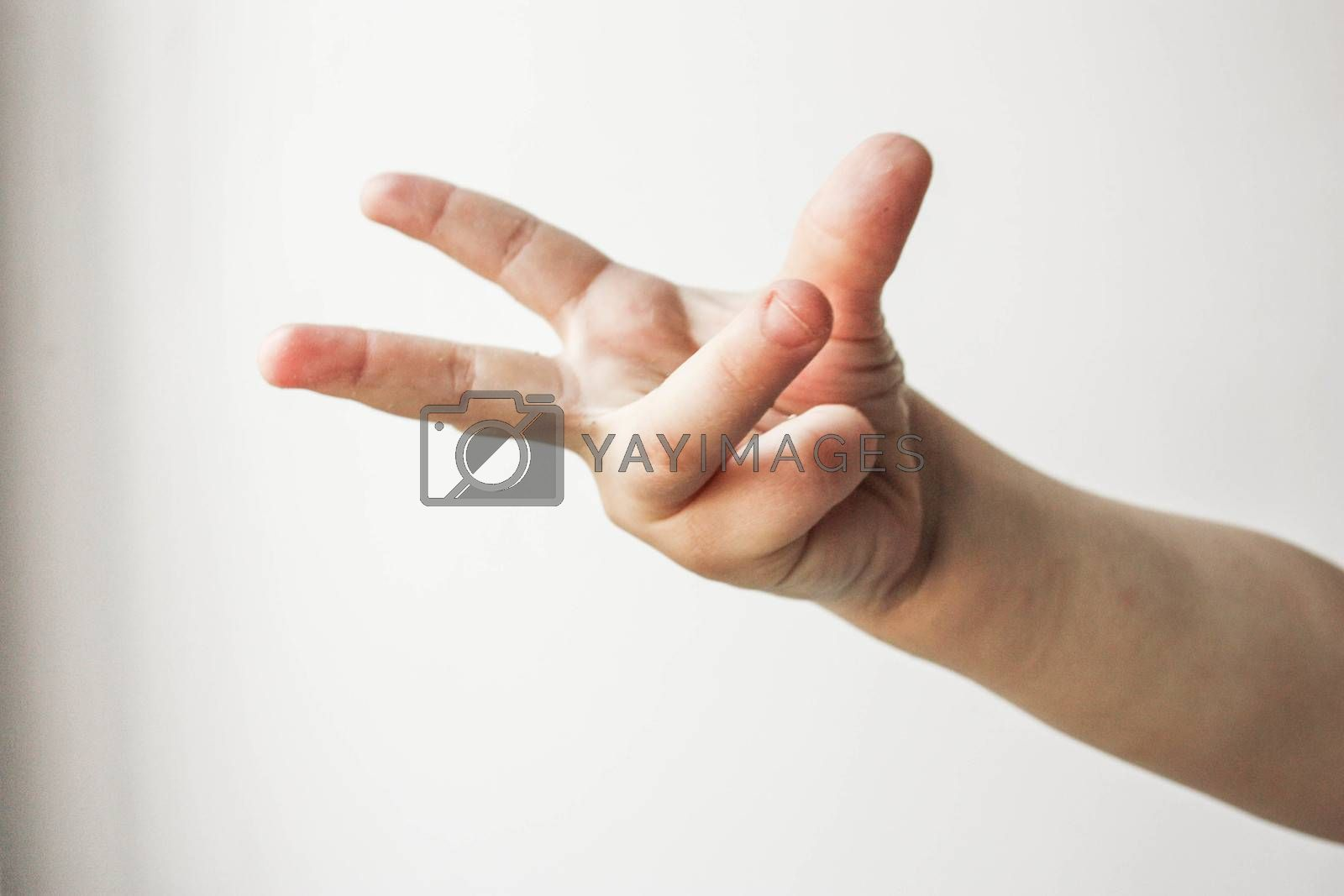 Thumb victory hand symbol. Child. all is well. Over white background. Photo for your design