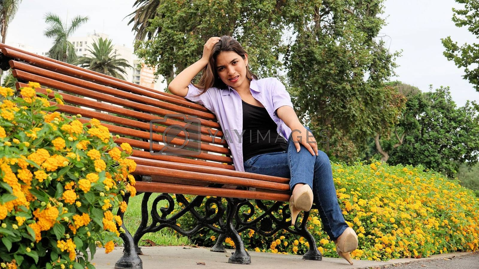 Stressed Girl Sitting In Park