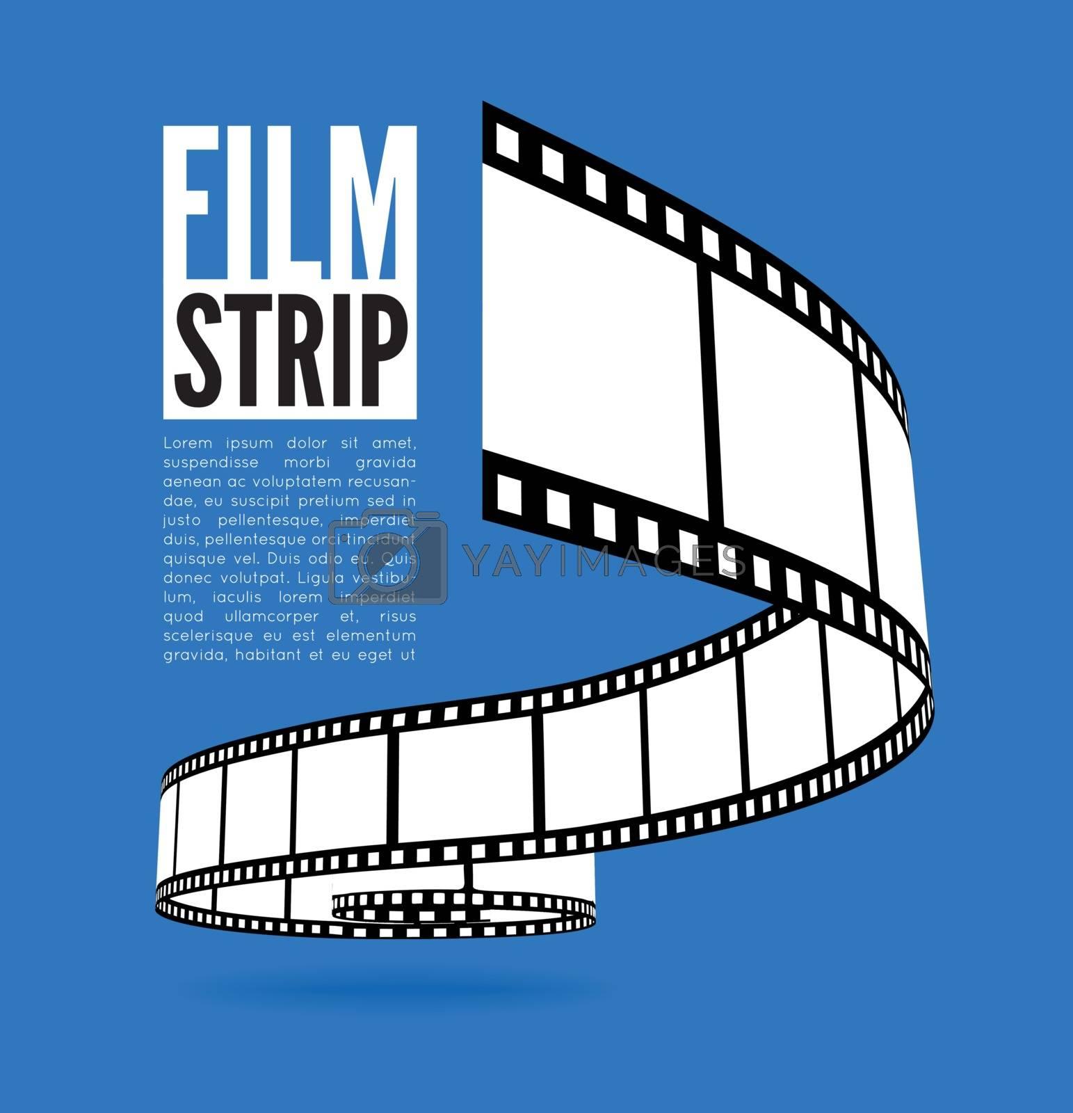 Film strip vector illustration on blue background