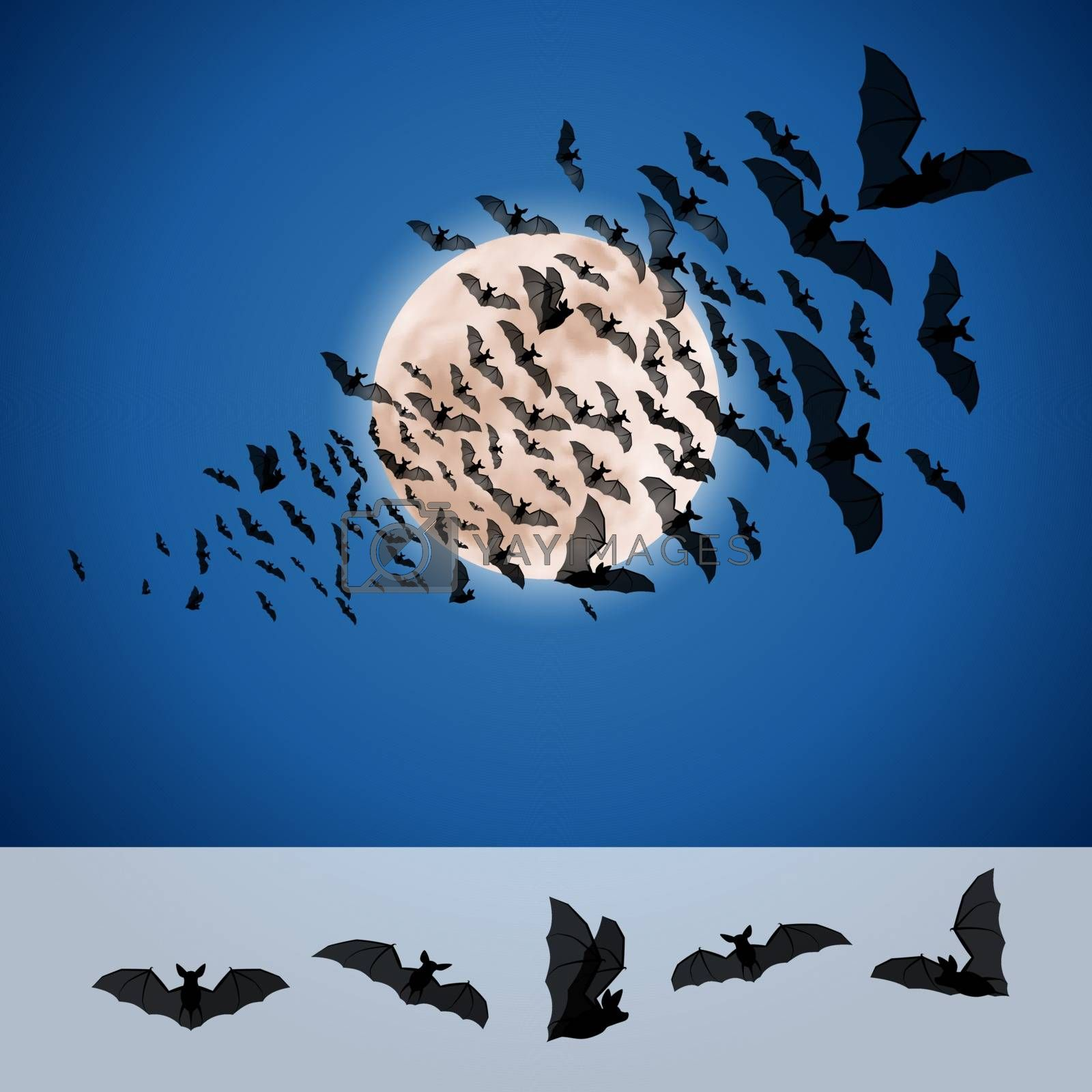 Set of Bats for Halloween isolated on a Moon Background