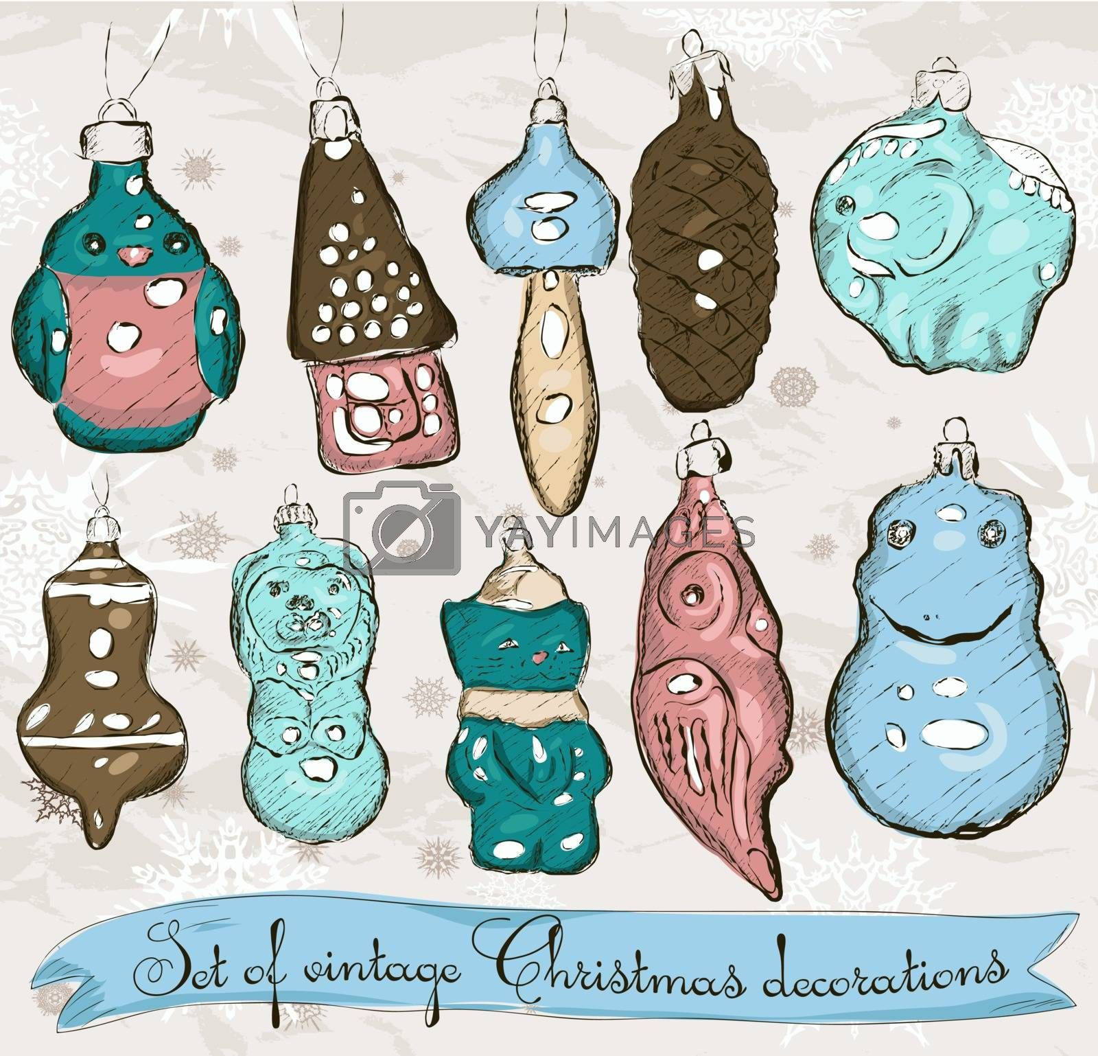 Set of real vintage Christmas decorations 1. Vector illustration EPS8