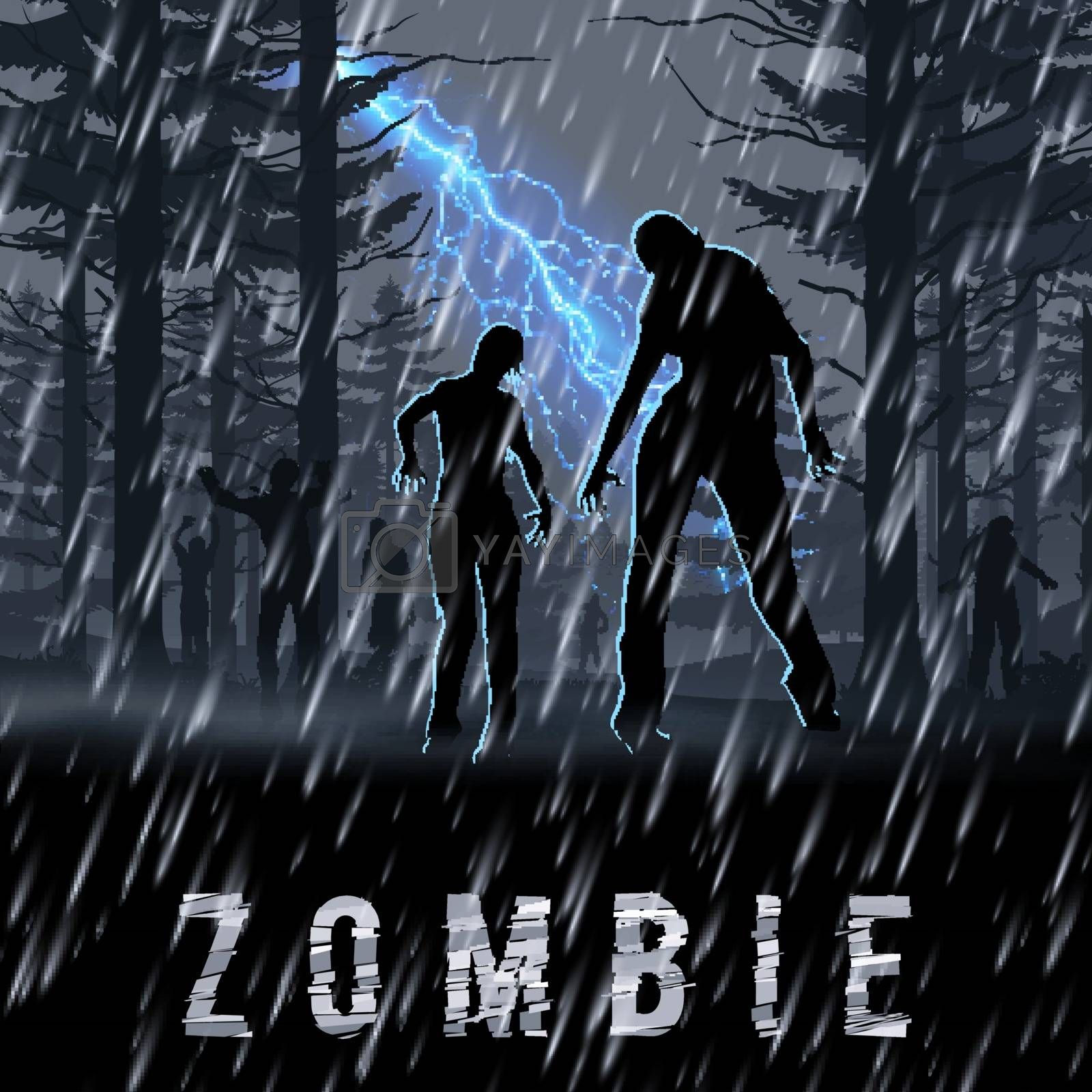 Zombie Walking out From Night Forest in a Rainy Weather. Silhouettes Illustration for Halloween Poster